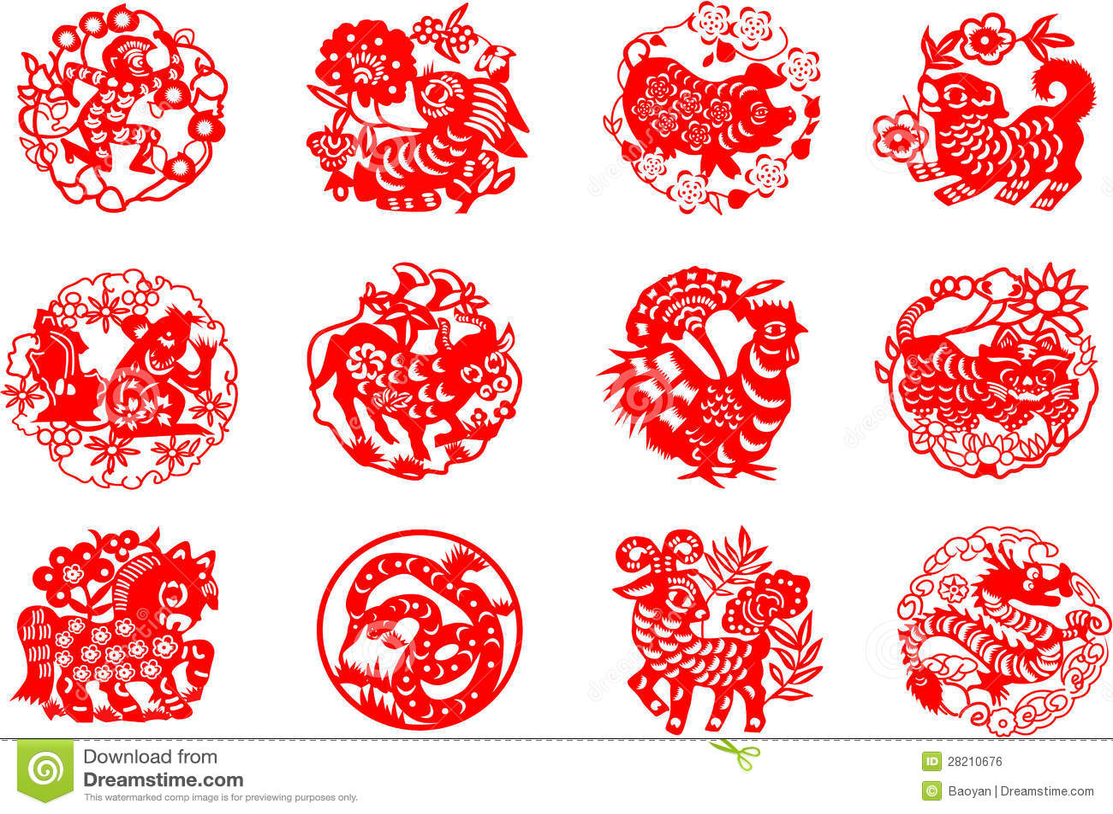 Animals Of Chinese Calendar Royalty Free Stock Image - Image: 28210676