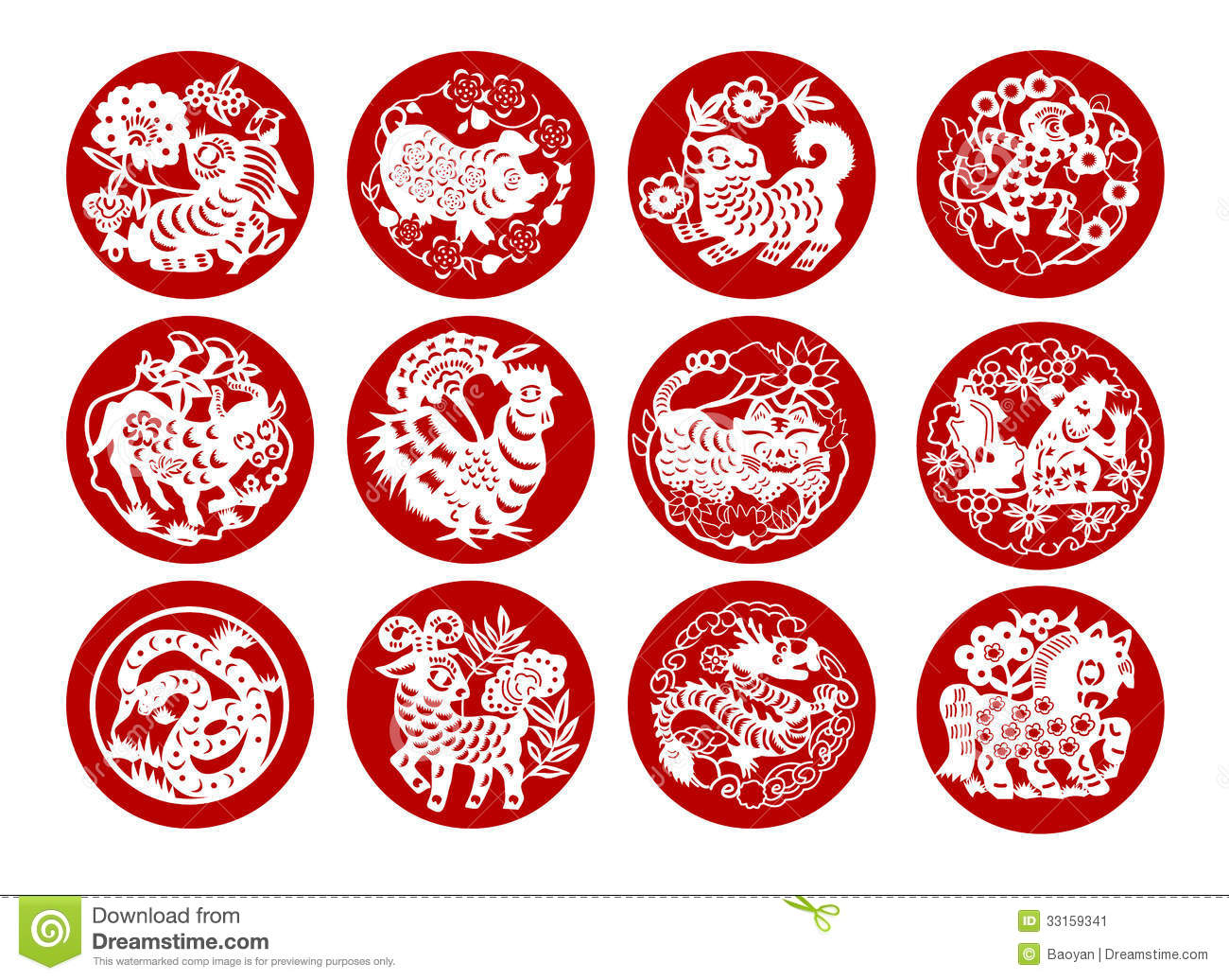 Animals Of Chinese Calendar Stock Image - Image: 33159341