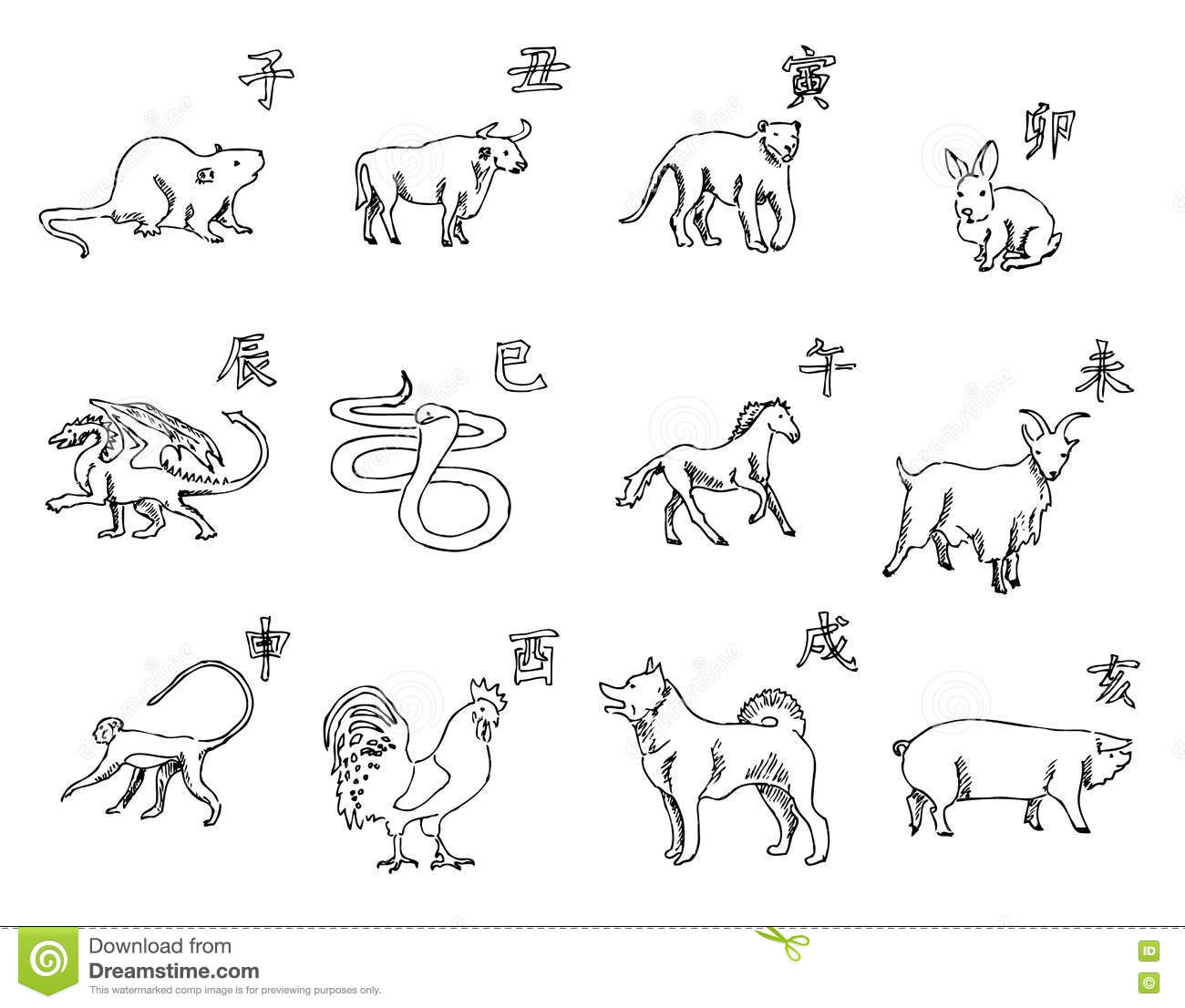 12 animals of the chinese zodiac calendar the symbols of the new year eastern calendar sketch pencil drawing by hand vector image