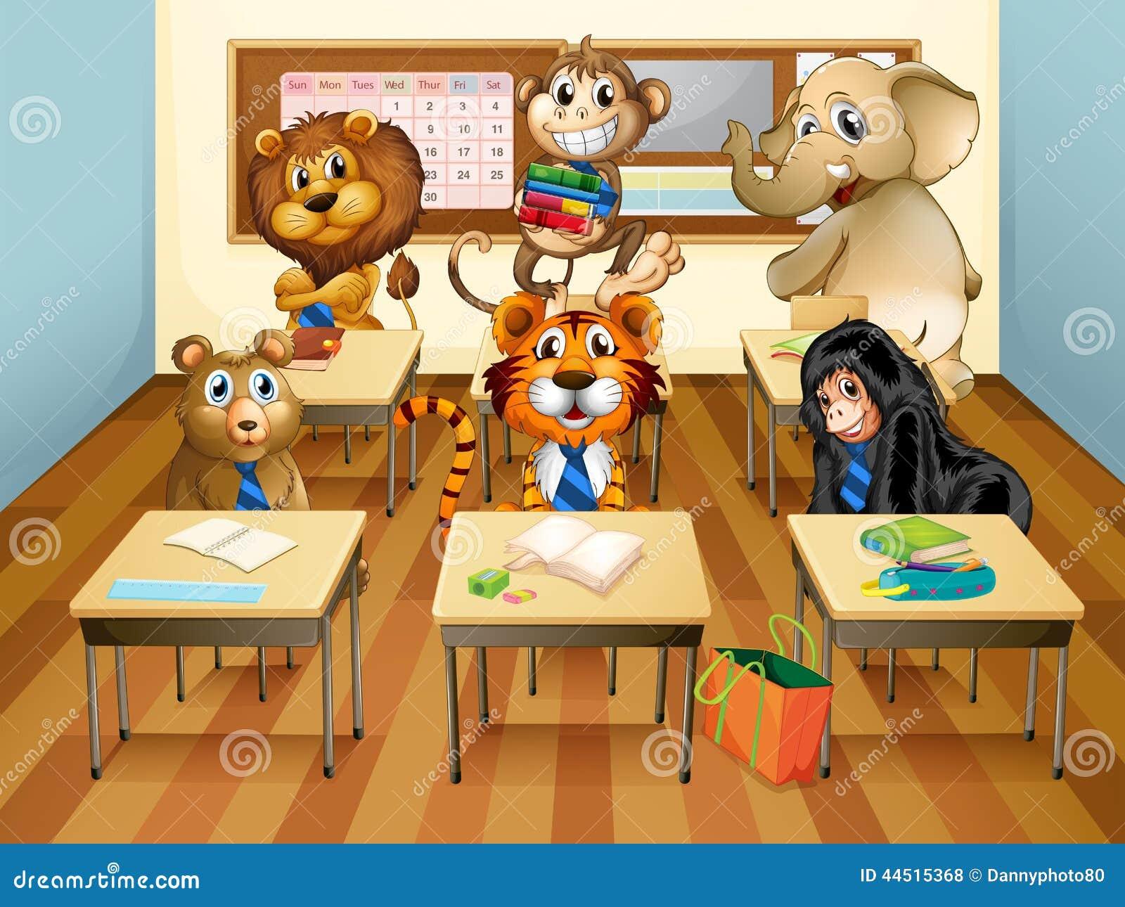 Animals In Classroom Stock Vector Image 44515368