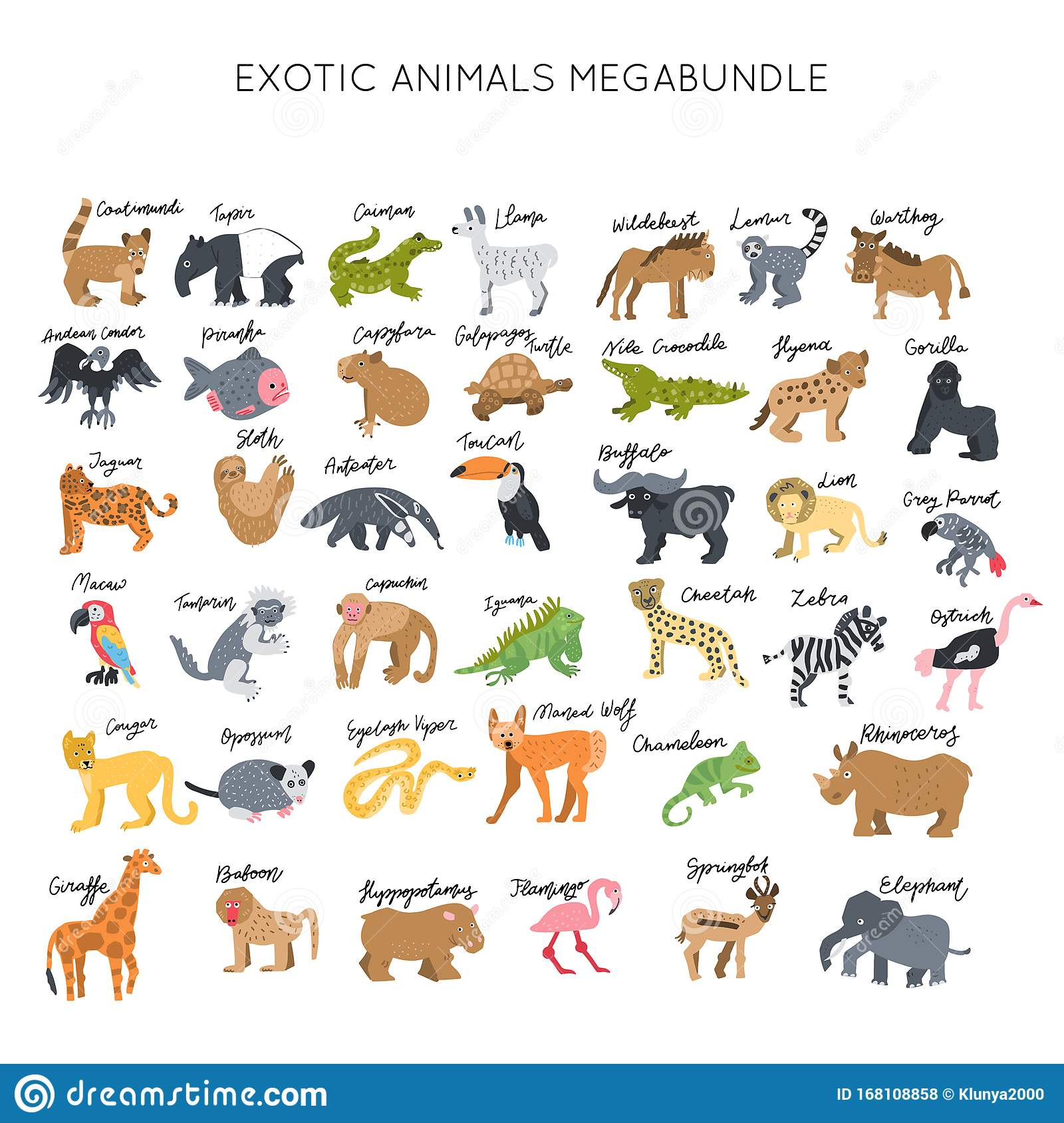 Animals Clipart Bundle Vector Stock Illustration ...