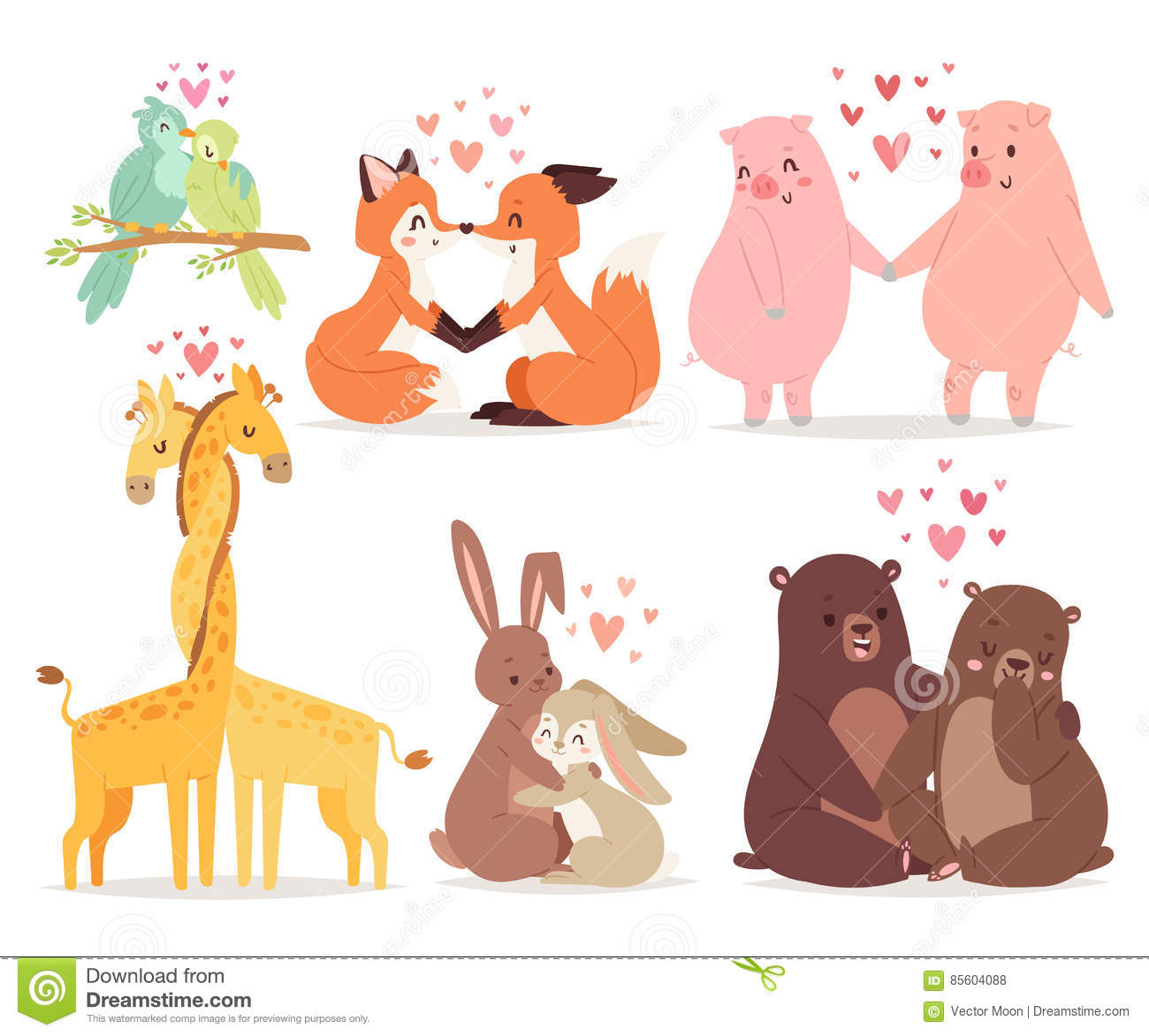 Animals Couple In Love Valentines Day Holiday Vector Illustration
