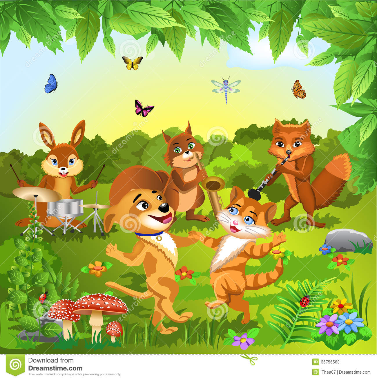 Animals Dancing And Playing Music Stock Vector ...
