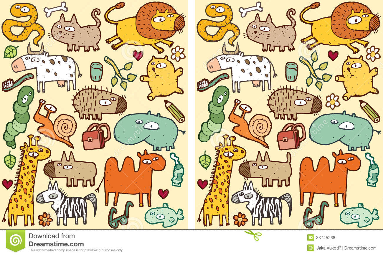 animals differences visual game royalty free stock photos