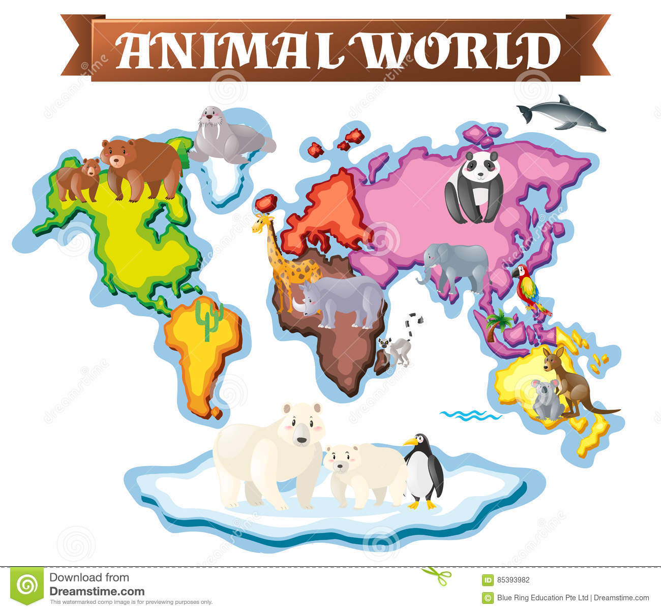Animals in different parts of the world on map stock vector animals in different parts of the world on map gumiabroncs Choice Image