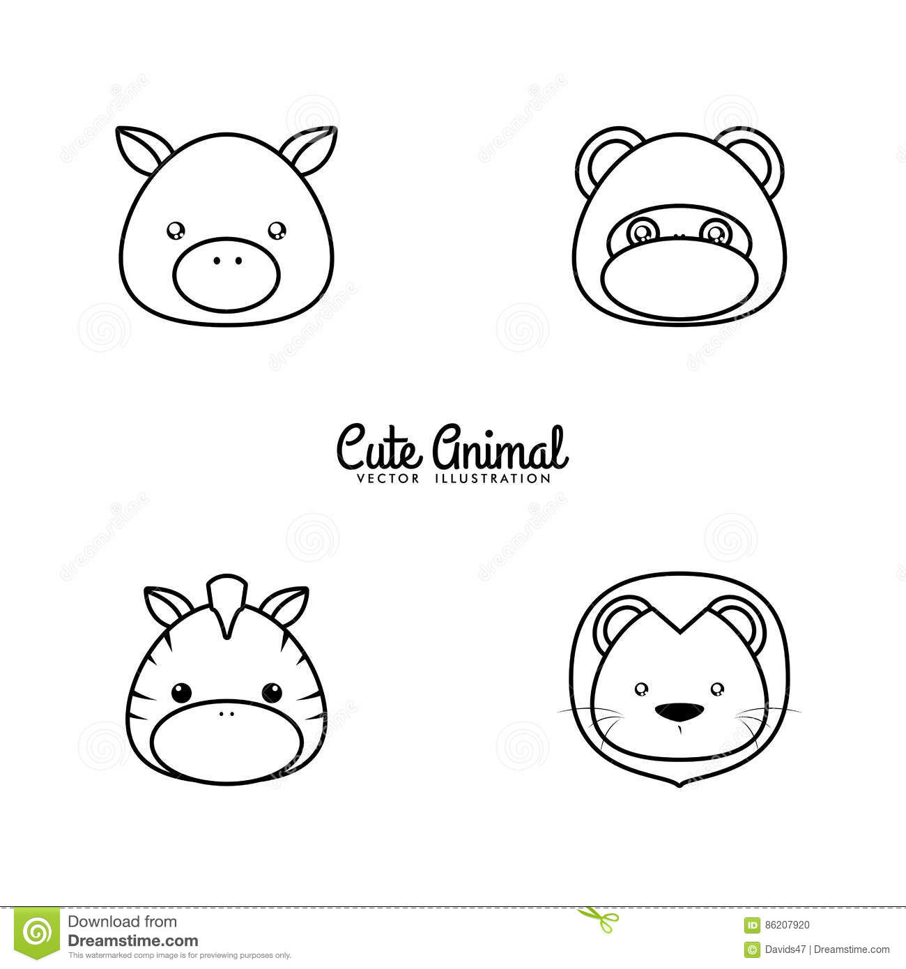 Animals Drawing Face Stock Vector Illustration Of Background 86207920