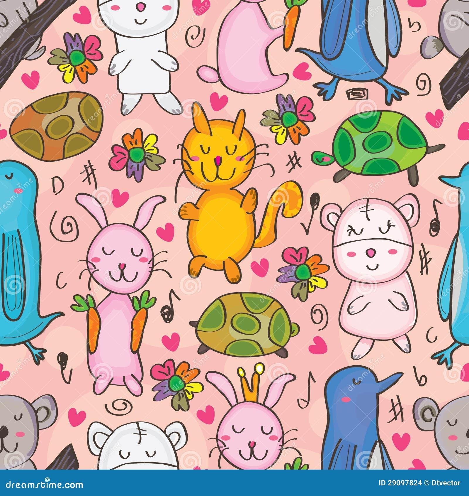 Animals Drawn Seamless Pattern_eps
