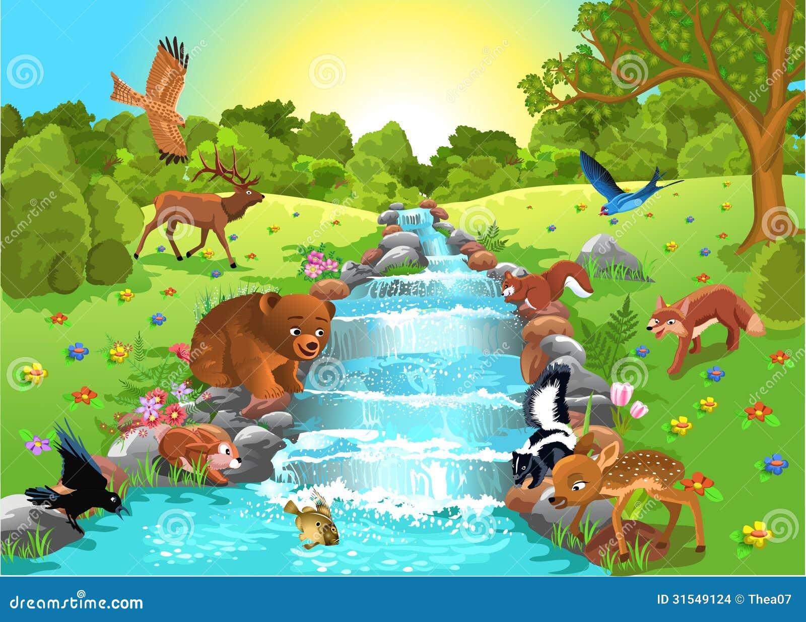 Animals drinking water stock vector. Illustration of ...
