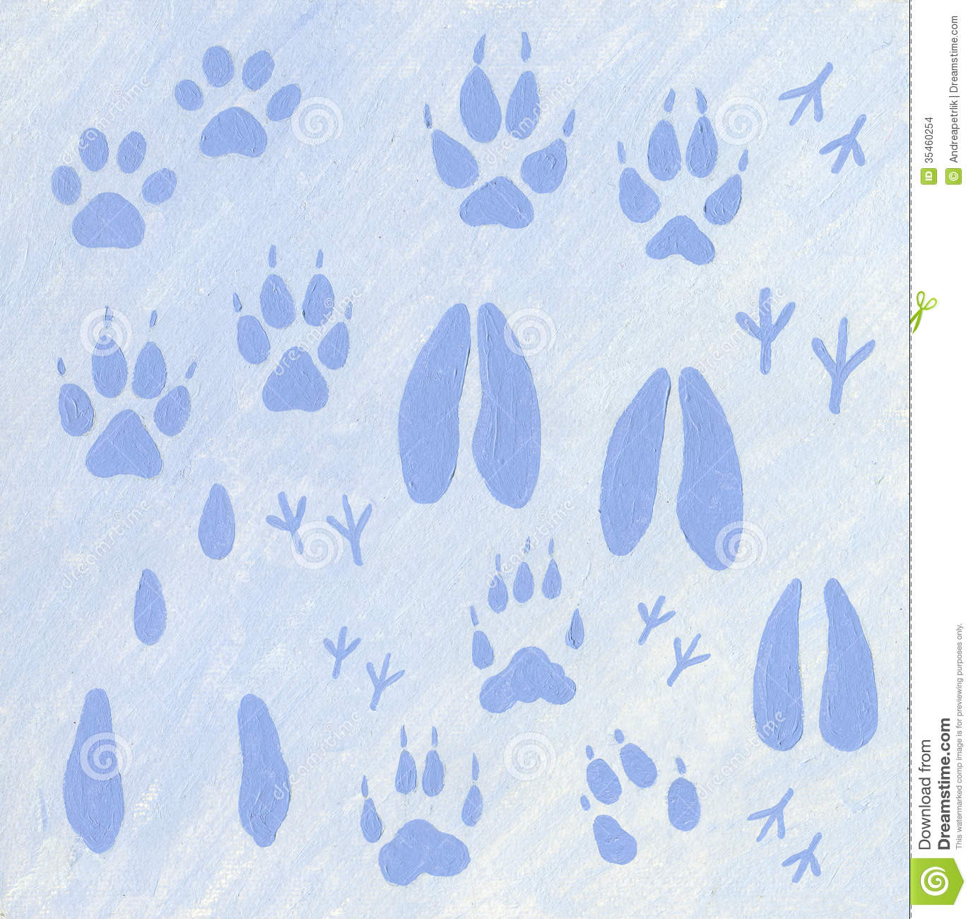 Animals Footprints In The Snow Stock Images - Image: 35460254