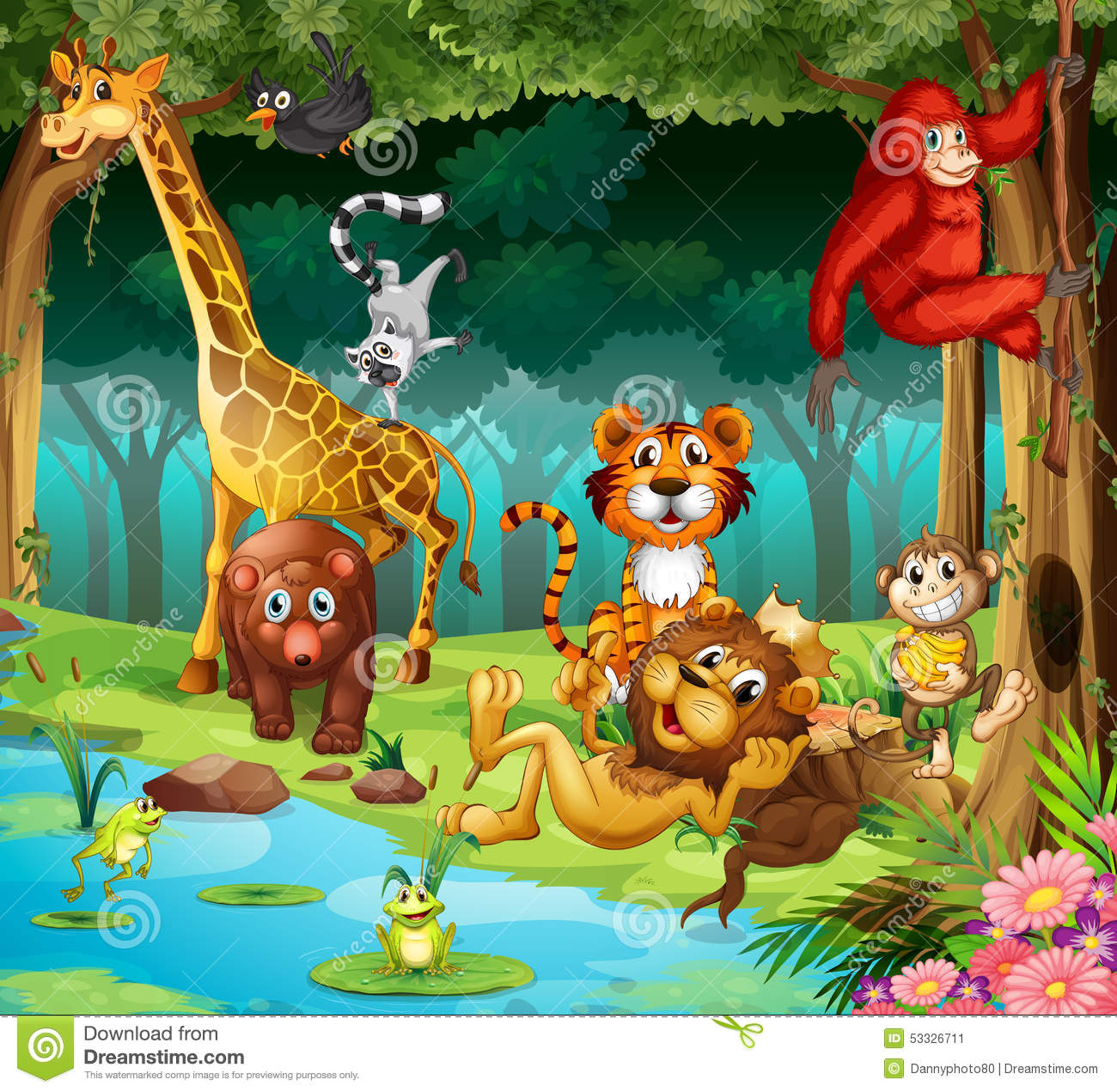 Animals And Forest Stock Vector Image 53326711