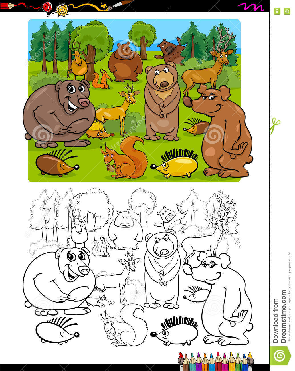 Animals Group Coloring Page Stock Vector - Illustration of funny ...