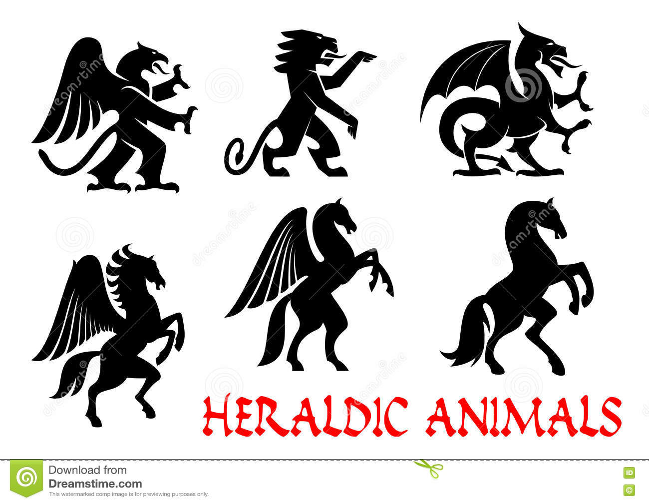 Animals Heraldic Emblems Vector Silhouette Icons Stock Vector Illustration Of Horse Gothic 76842855