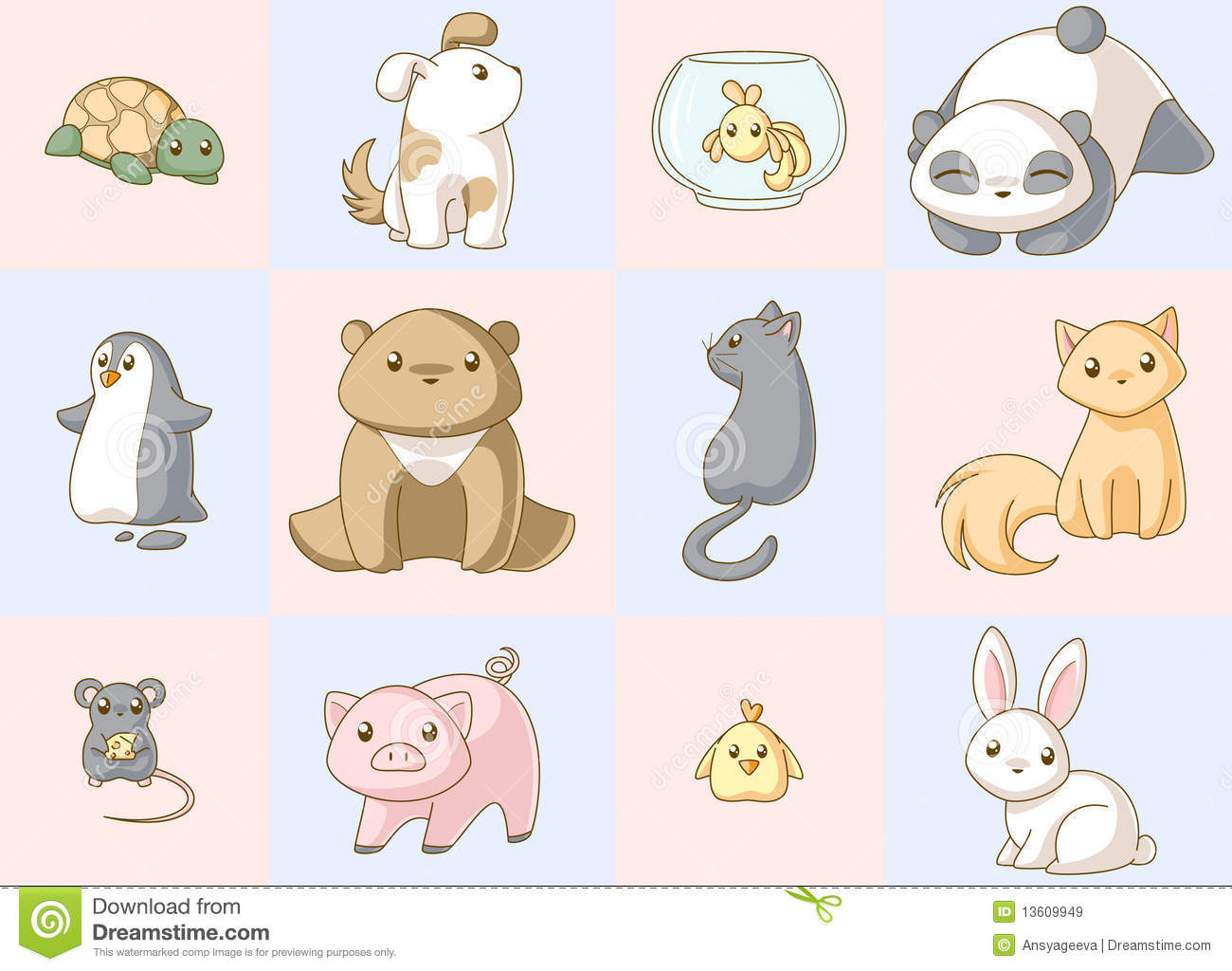 Animals kawaii set Royalty Free Stock Images