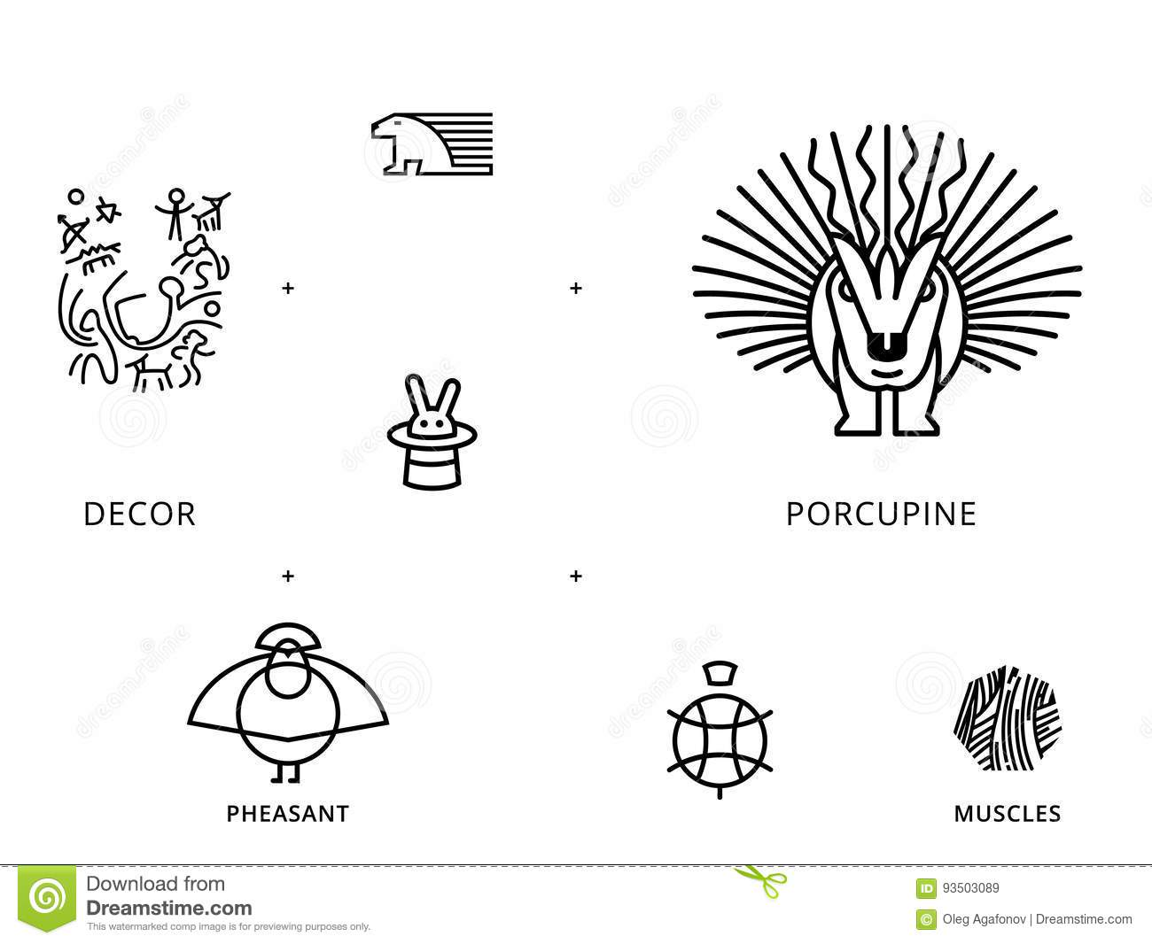 Animals Linear Symbols With Turtle Porcupine Stock Illustration