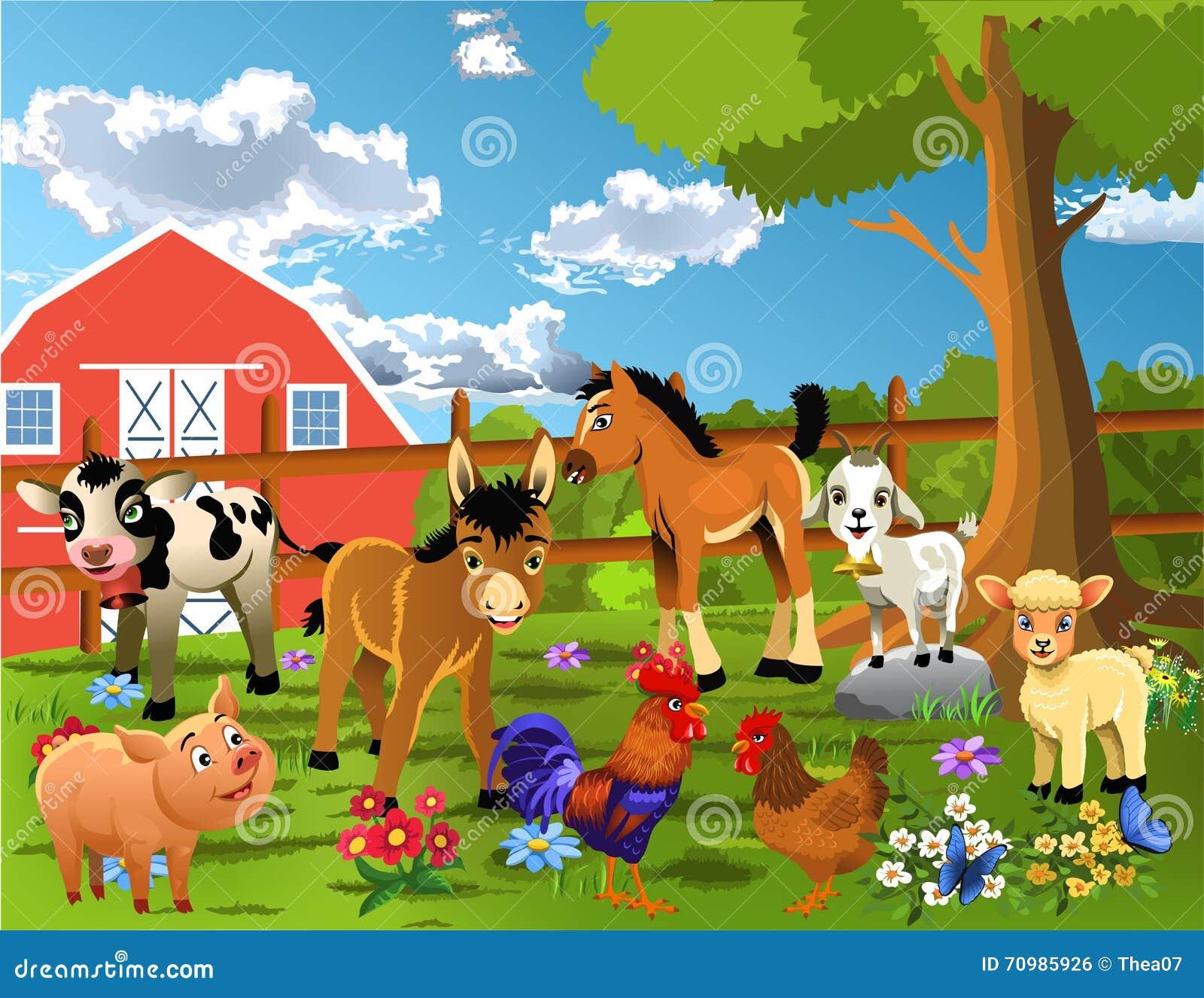 Animals Living At The Farm Stock Vector Image Of Lamb