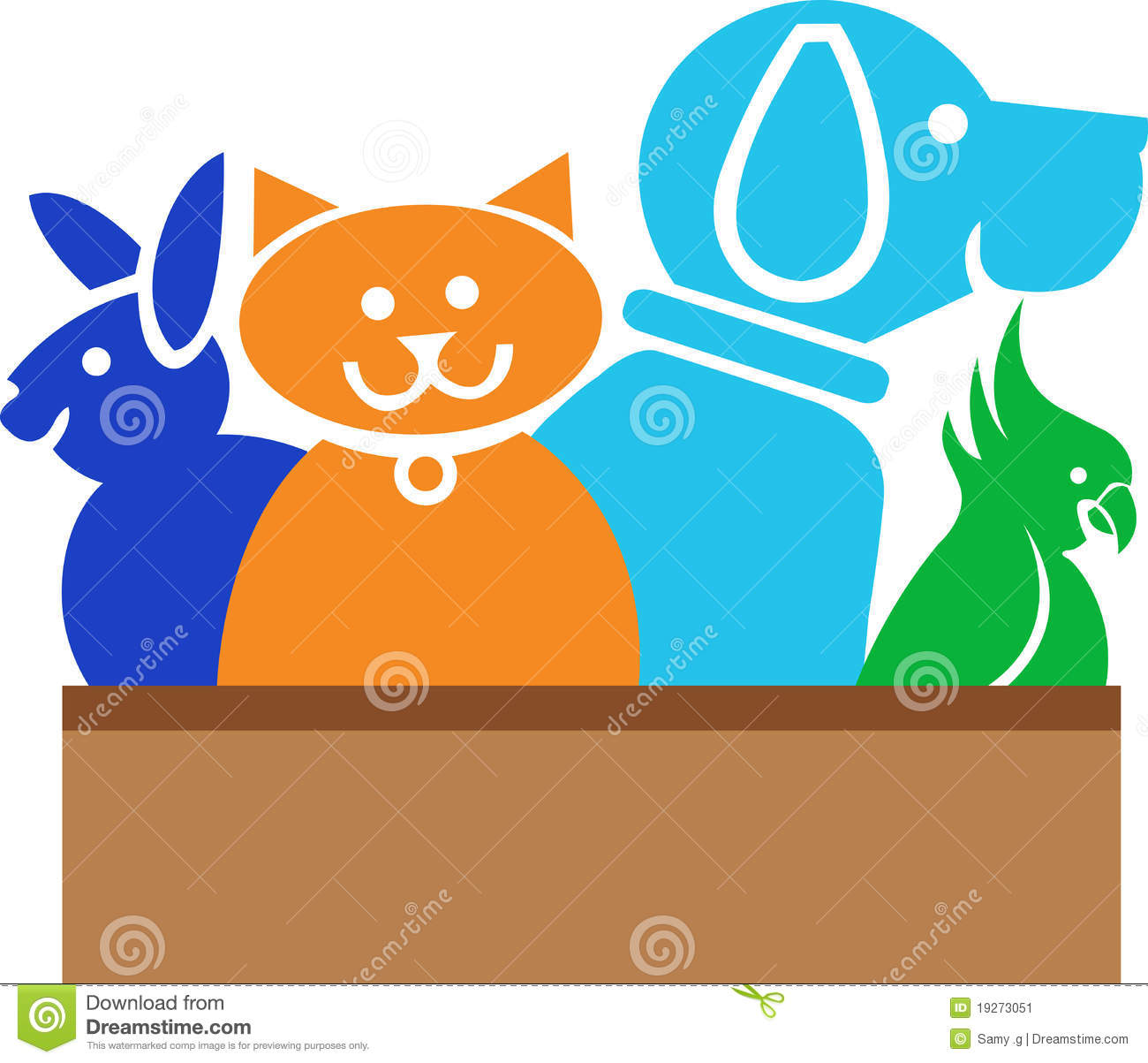 illustration art of a pet animals logo with isolated background