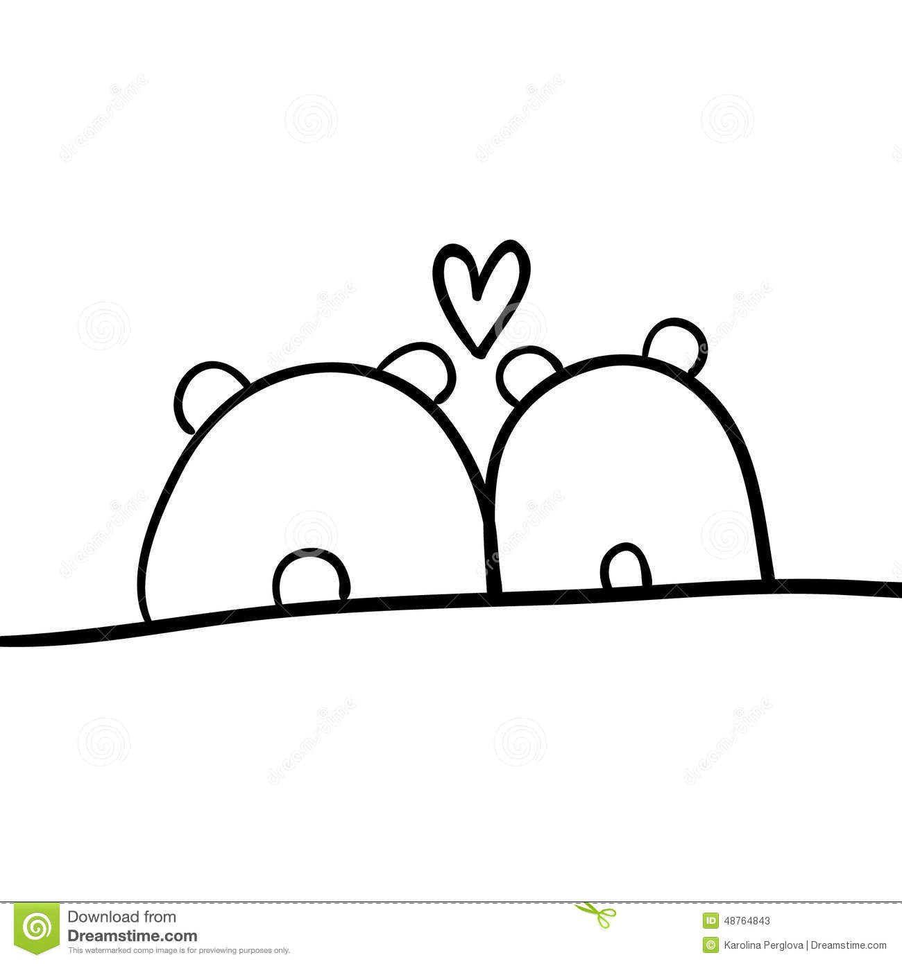 Line Drawing Love : Animals in love stock illustration image