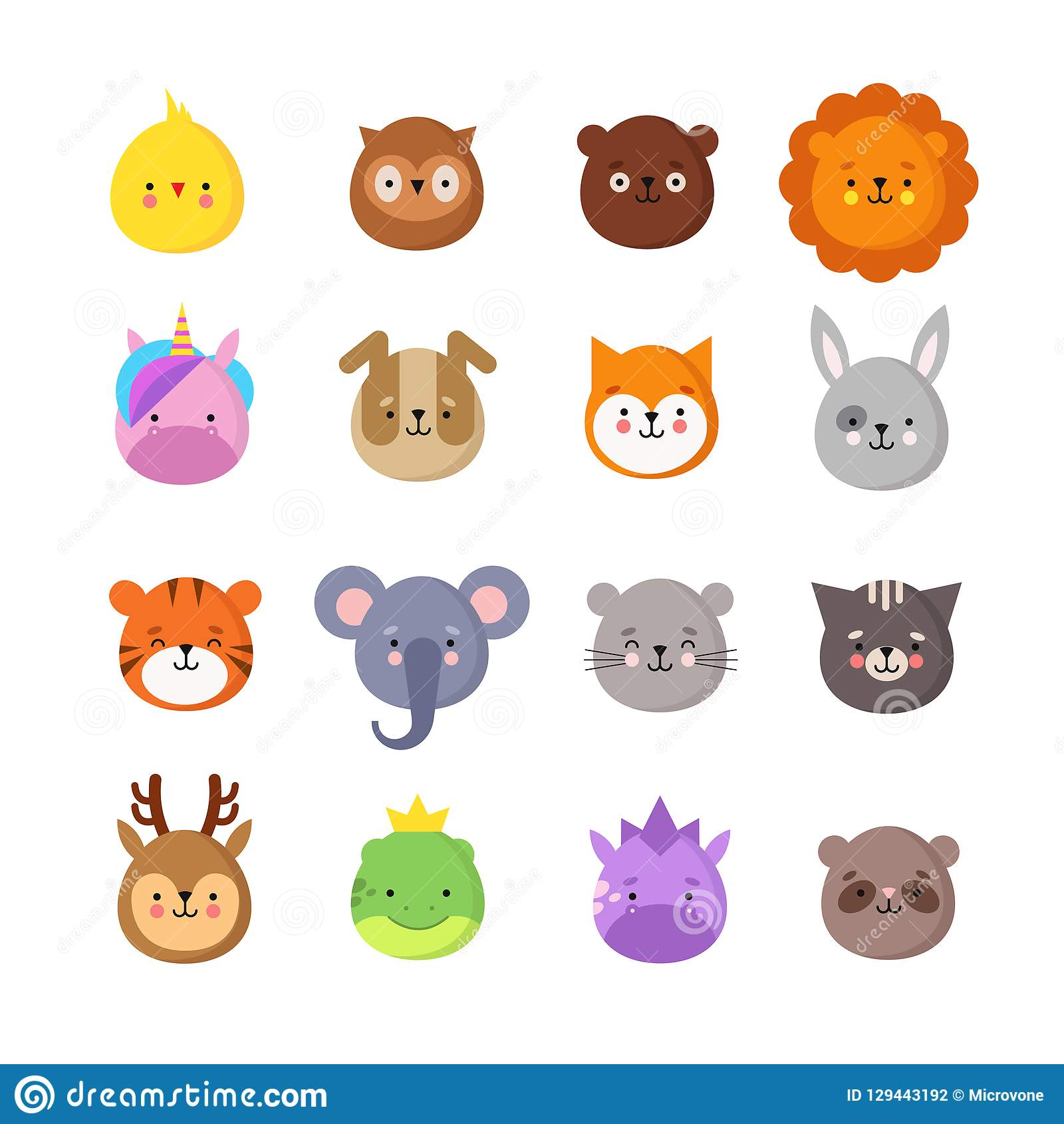 Set Of Emoticons  Avatars  Funny Cartoon Faces  Cute Emoji