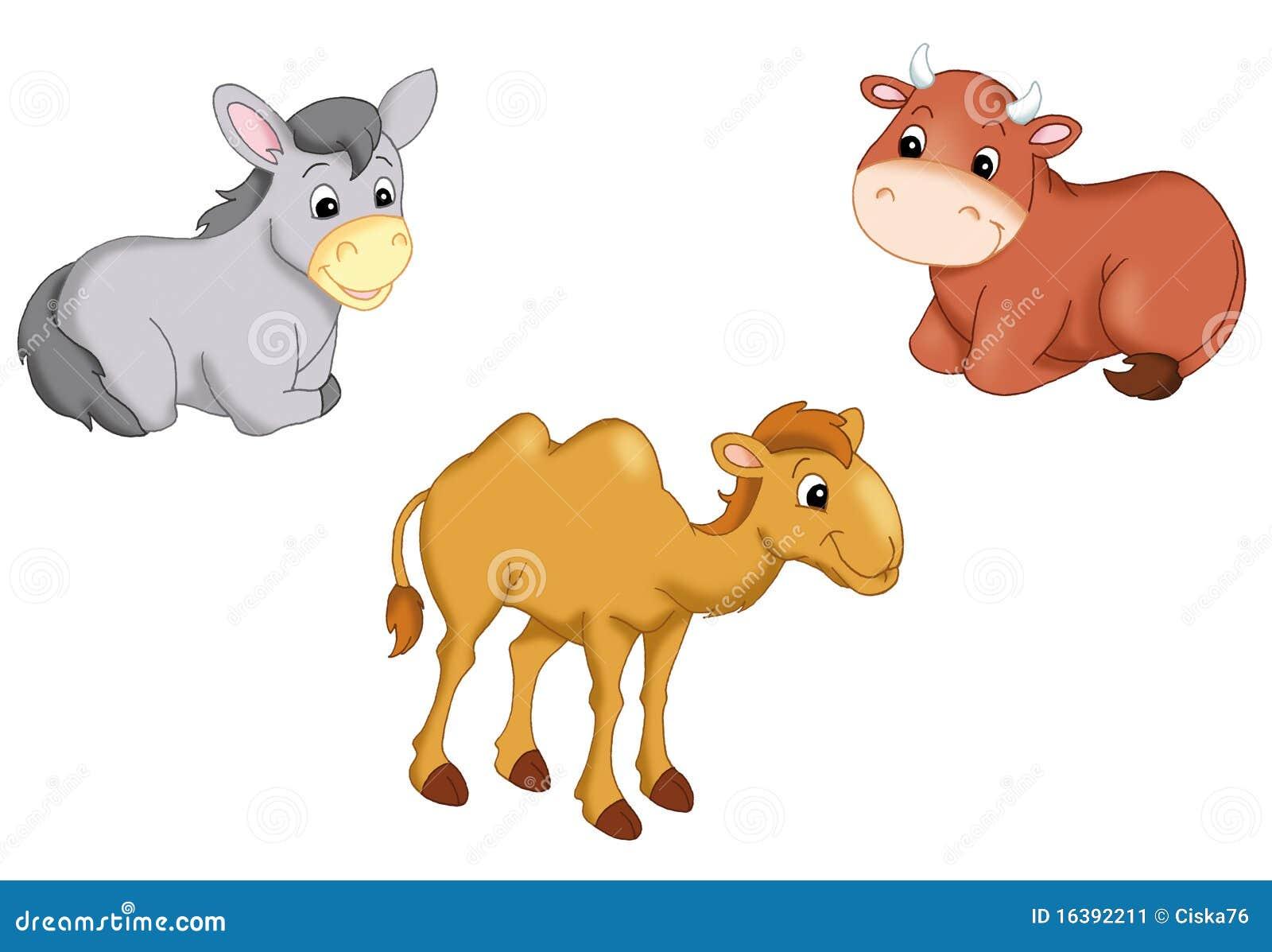 Digital illustration of some animals of the manger