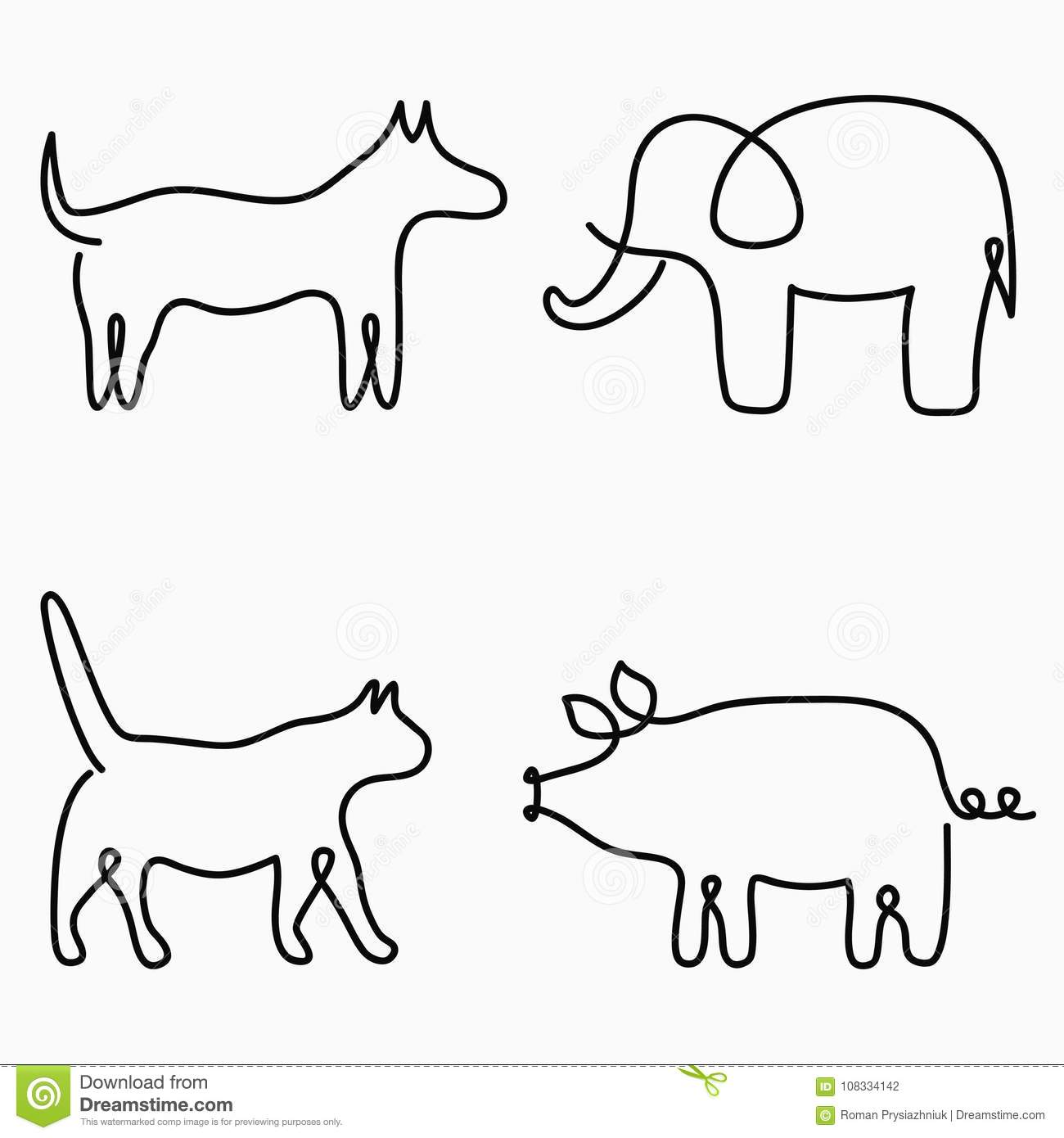 Simple Line Drawings Of Farm Animals : Animals one line drawing continuous print cat dog