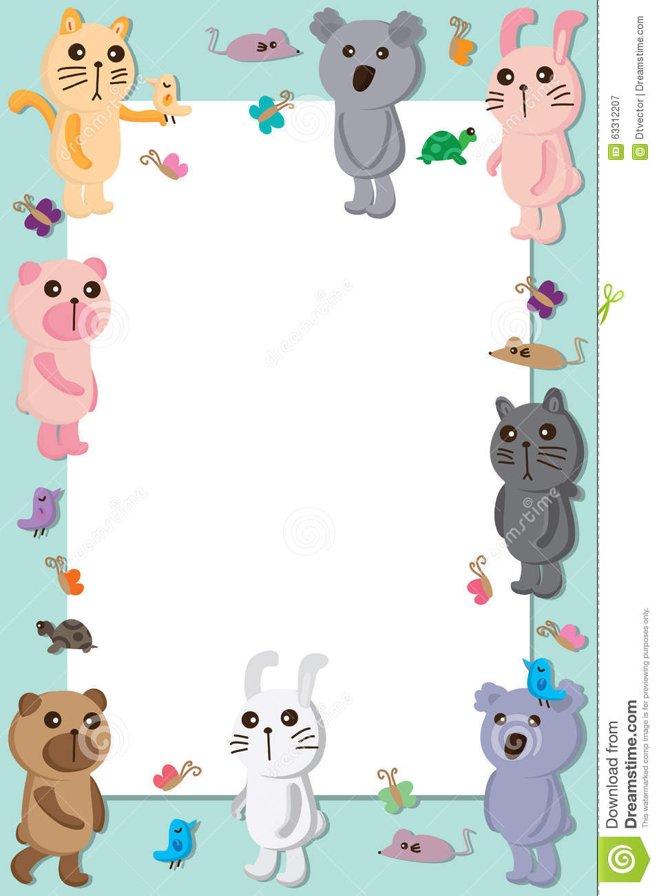 animals pastel color frame stock vector image 63312207