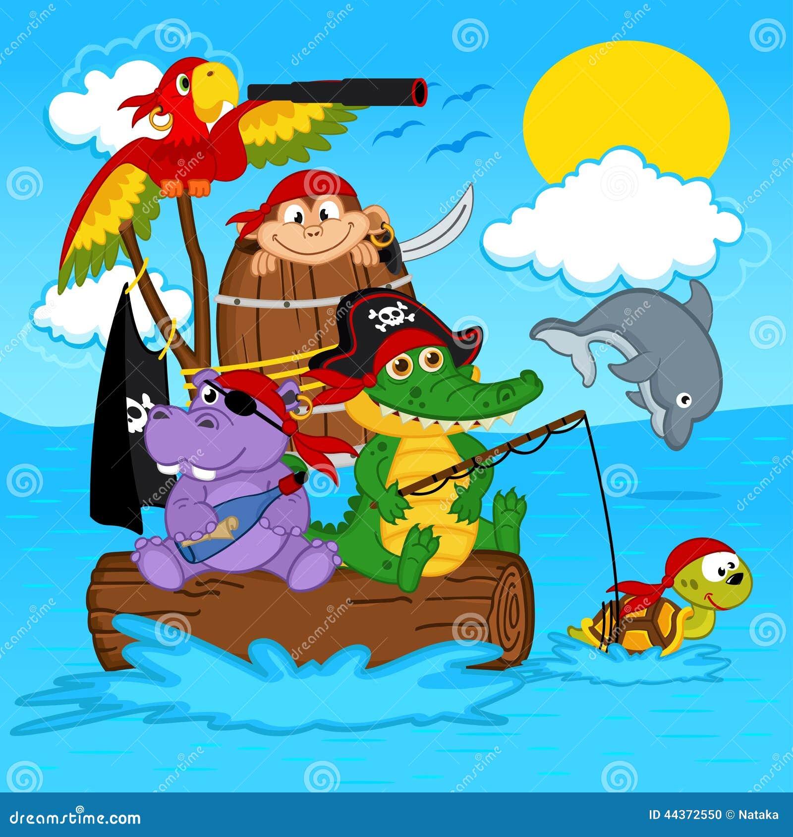 Download Animals pirates stock vector. Illustration of monkey - 44372550