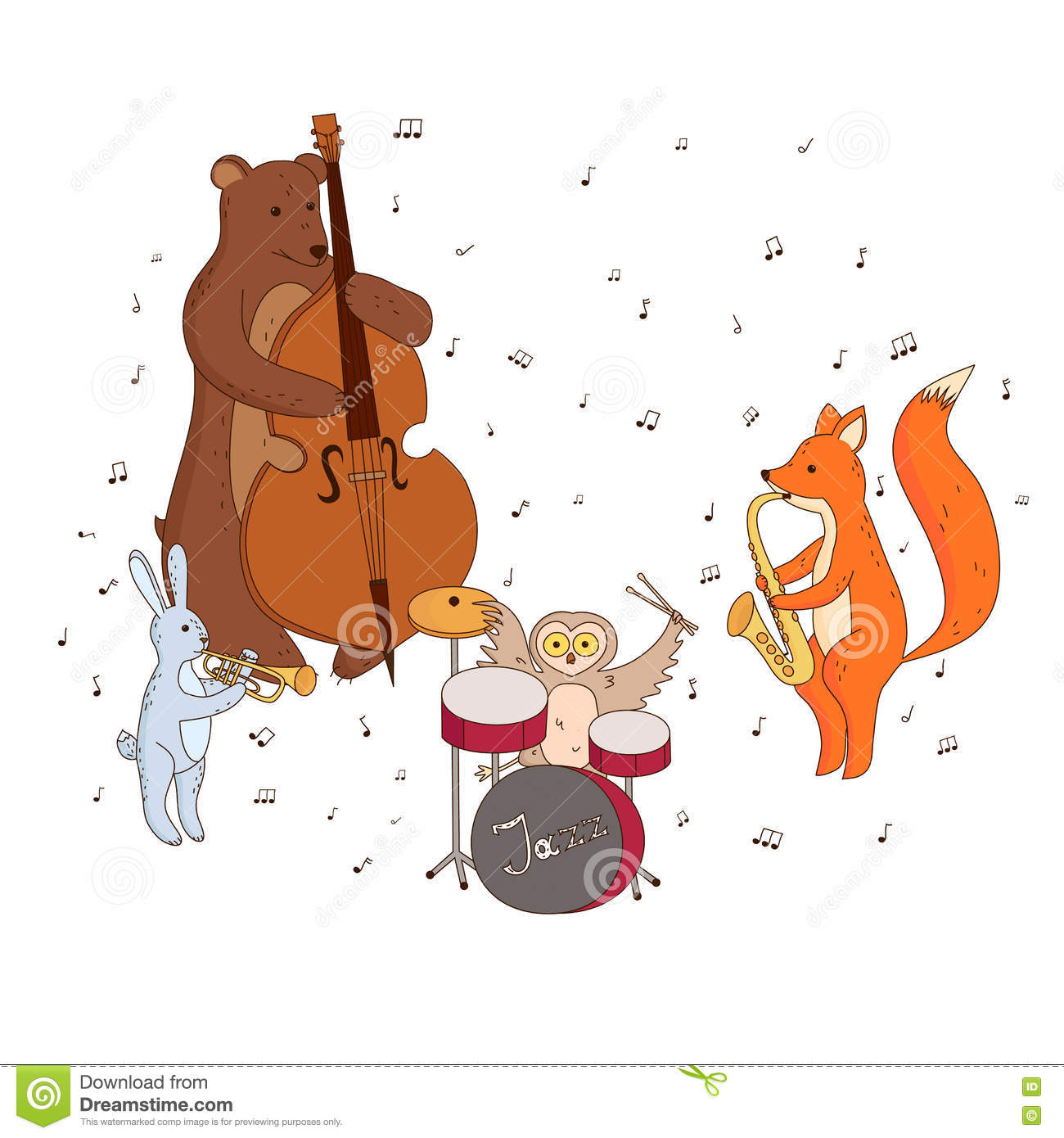 Animals Playing Musical Instruments Stock Vector - Image ...