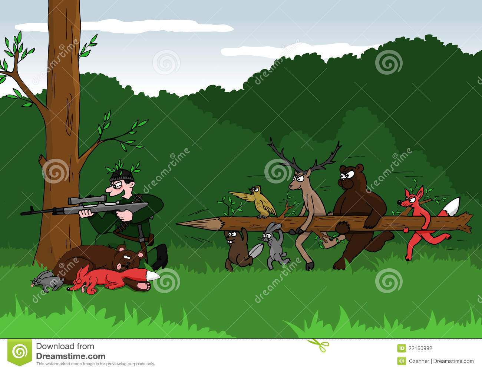 animals and poacher