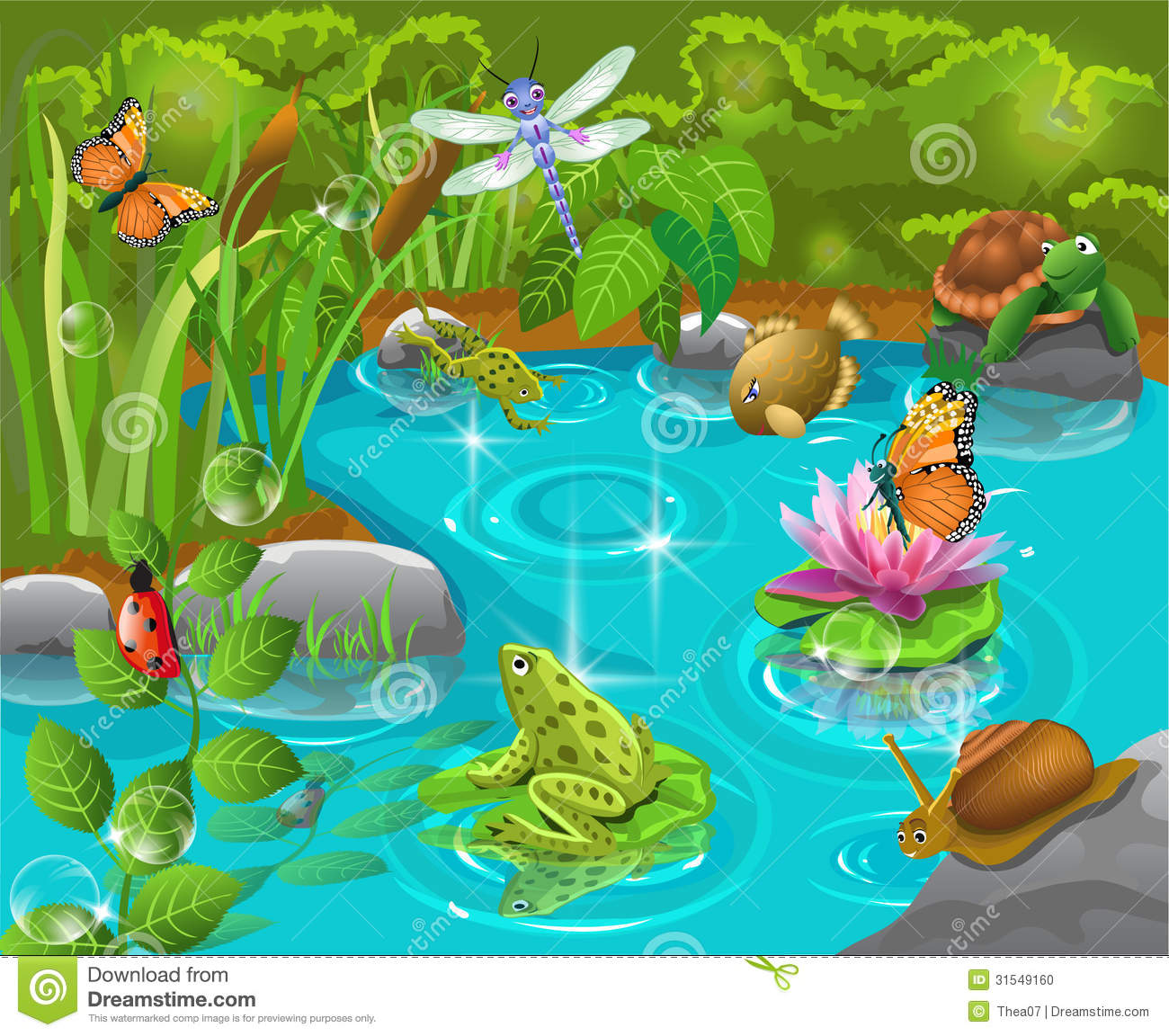 Animals in the pond stock vector image of ladybug lotus for Pond animals