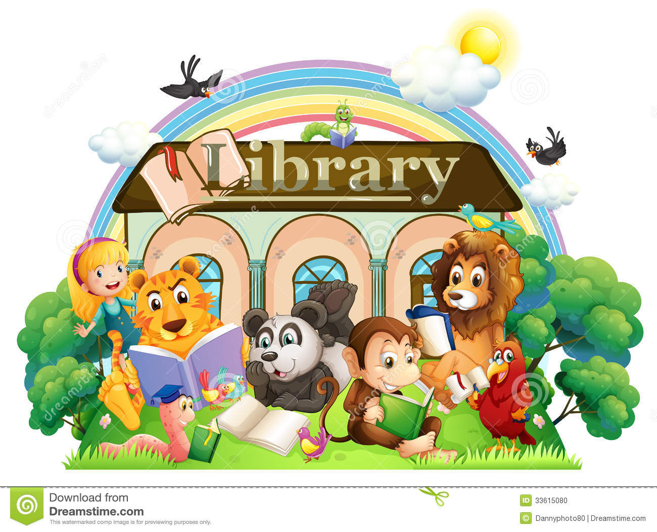 animals reading in front of the library stock illustration