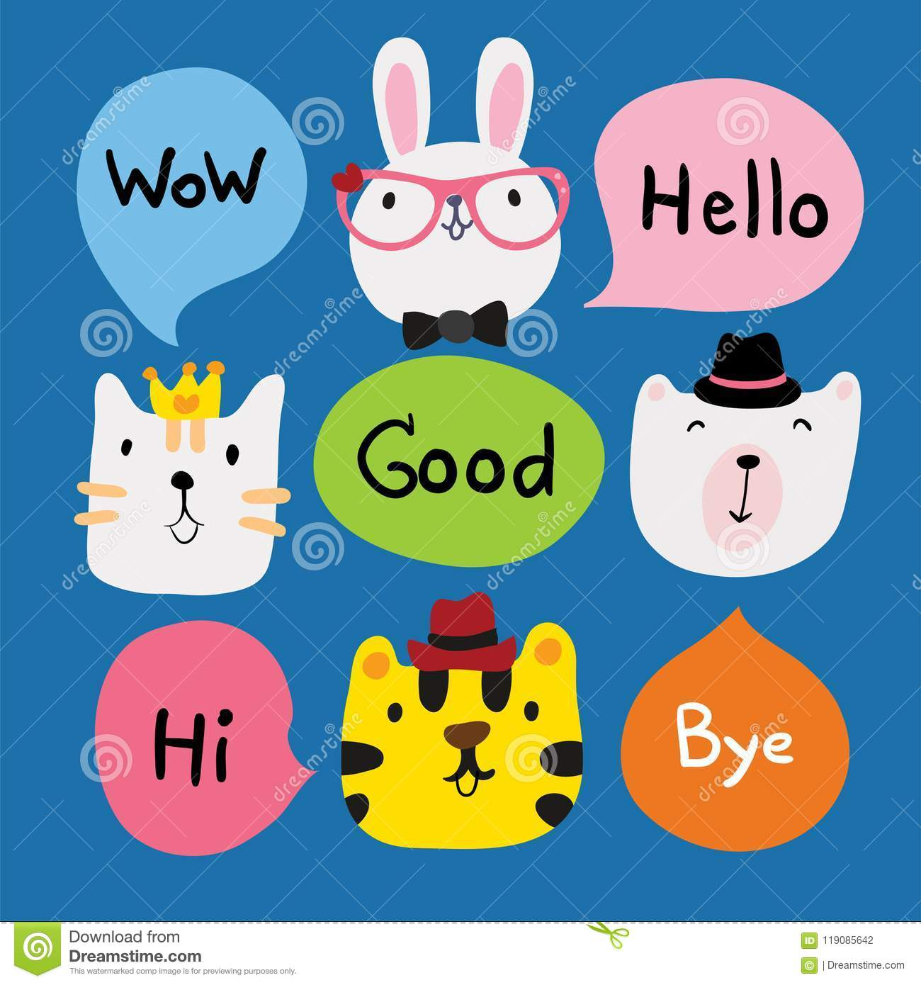 Animals Speech Character Design Stock Vector - Illustration of color