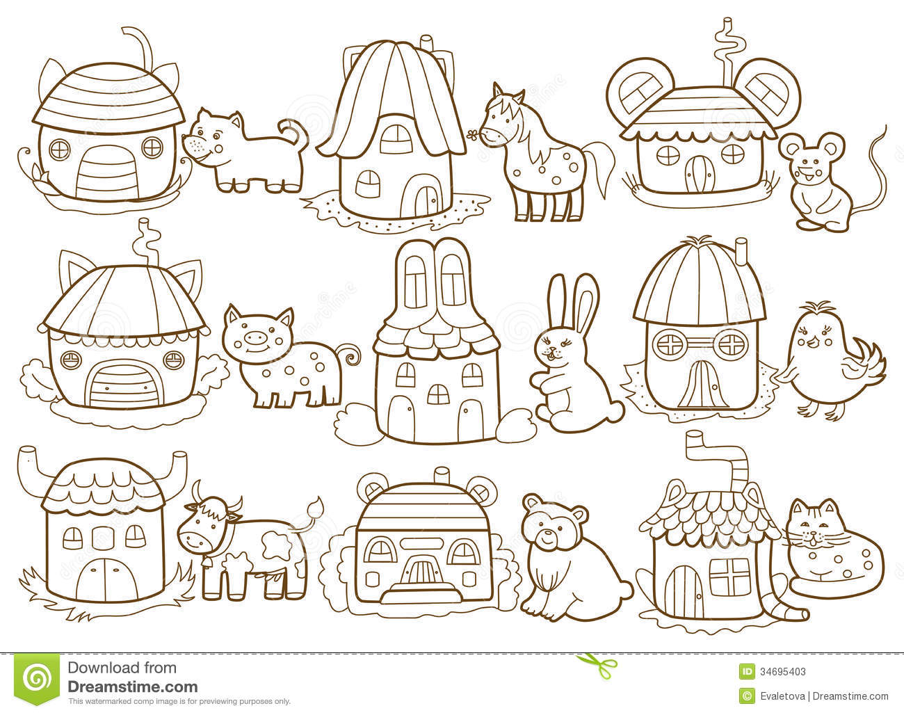 Coloring Pages Of Animals And Their Homes : Free coloring pages of homes animals