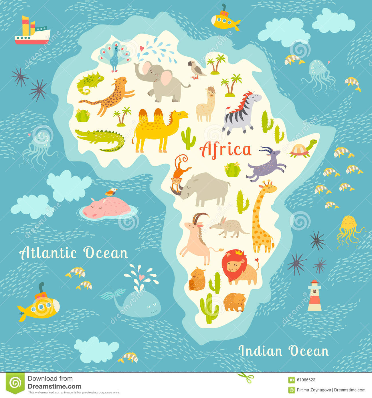 Animals World Map, Africa. Beautiful Cheerful Colorful Vector ...