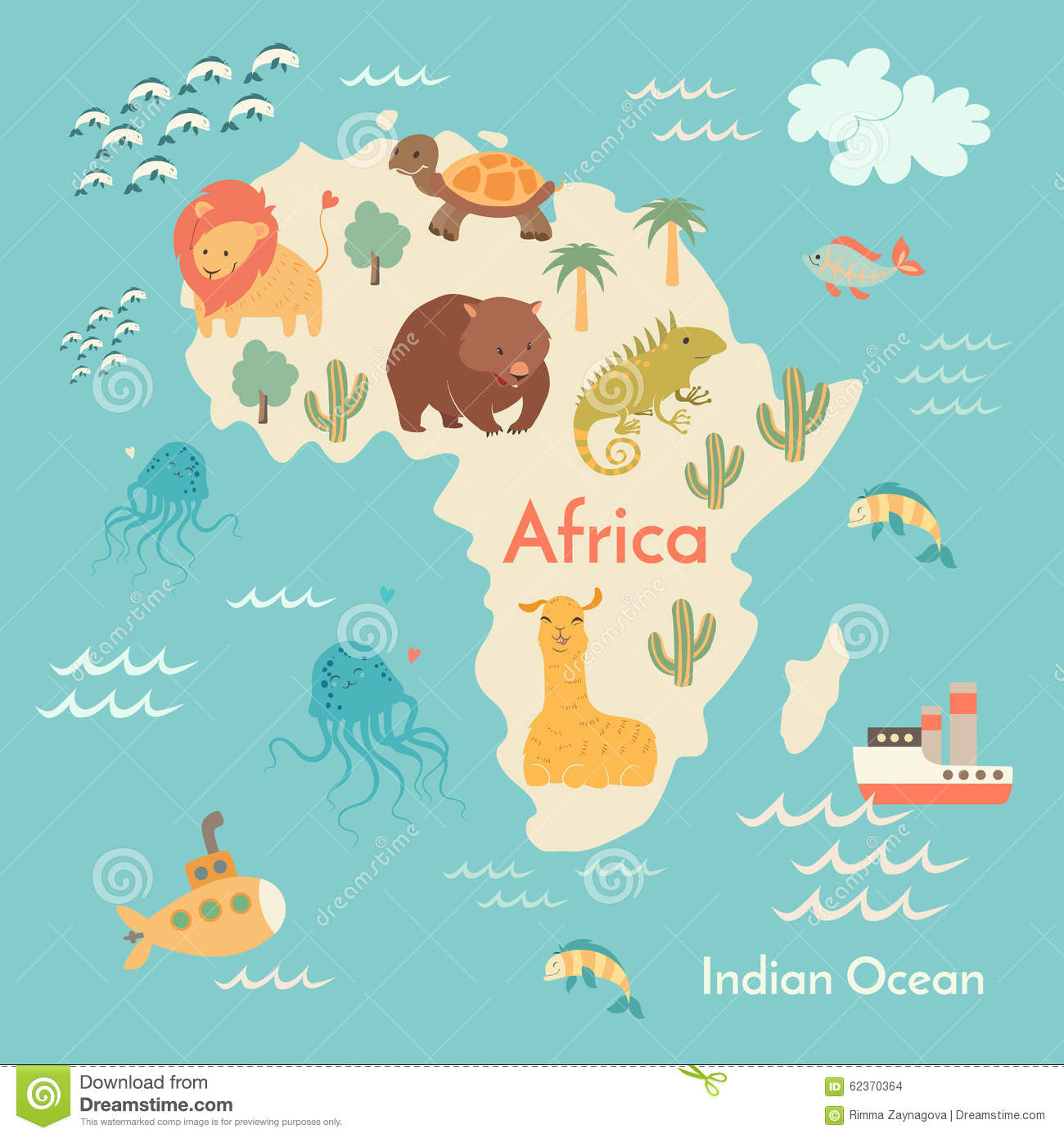 Animals world map africa stock vector illustration of geography animals world map africa royalty free vector gumiabroncs Choice Image
