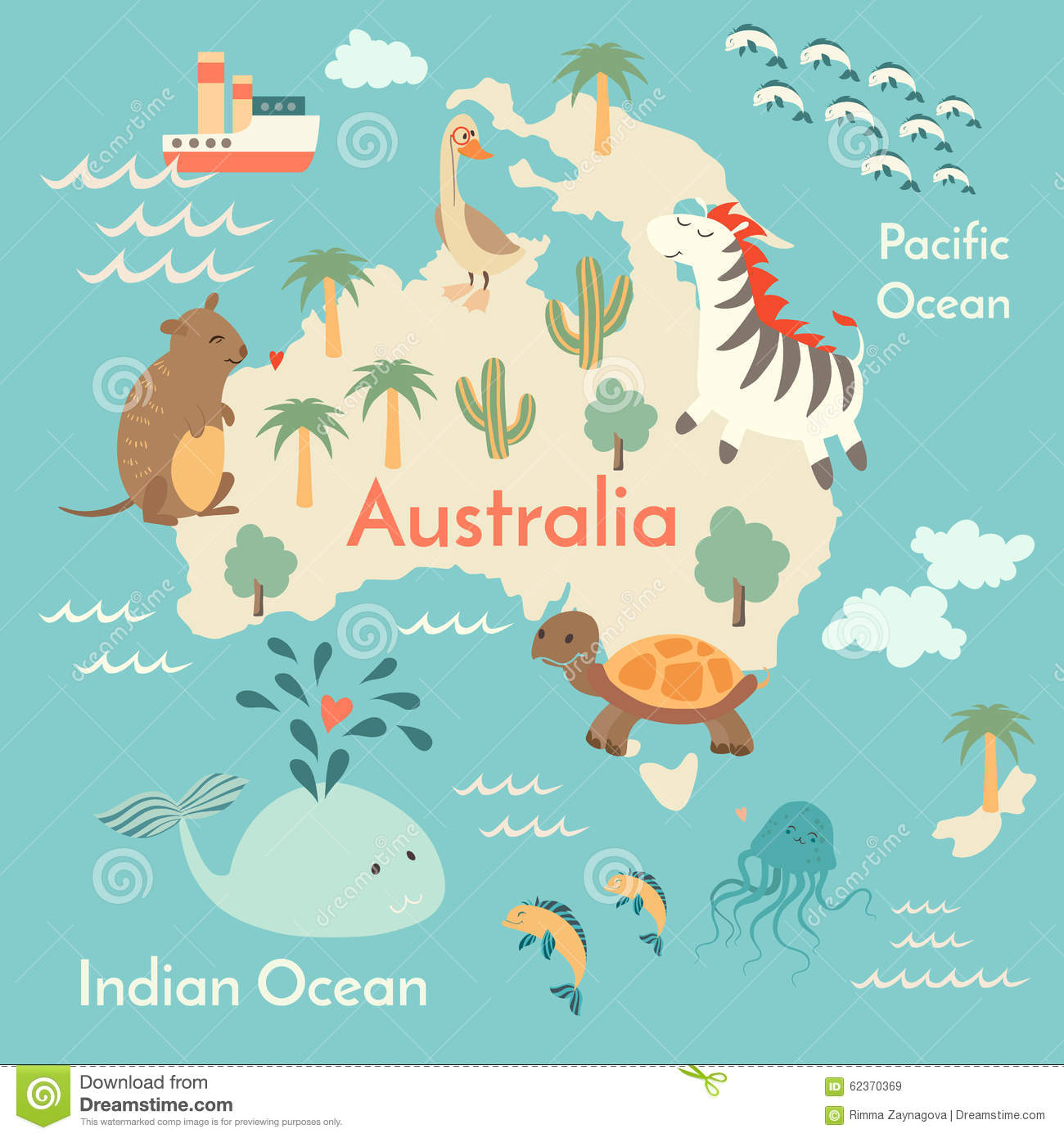 Animals world map australia stock vector illustration of cute download animals world map australia stock vector illustration of cute cartoon 62370369 gumiabroncs Images