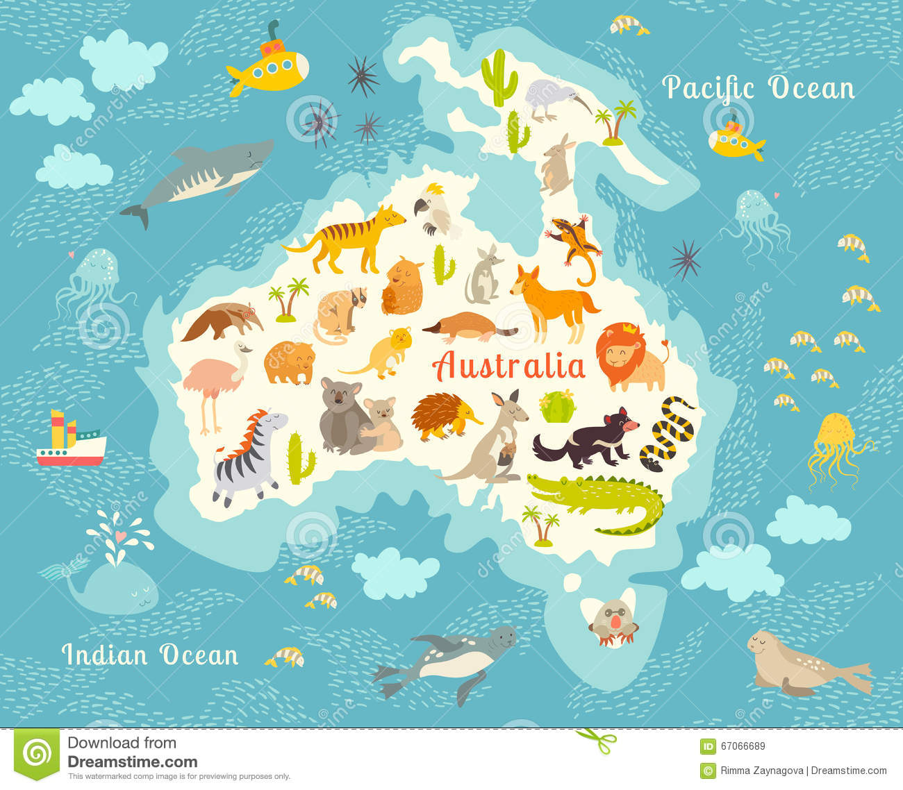 Animals World Map, Australia Stock Vector - Image: 67066689