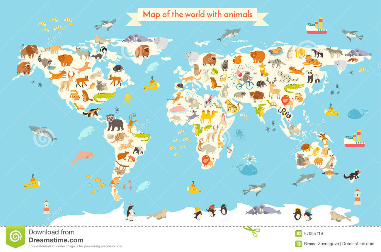 Animals World Map Colorful Cartoon Vector Illustration For - World map continents and oceans
