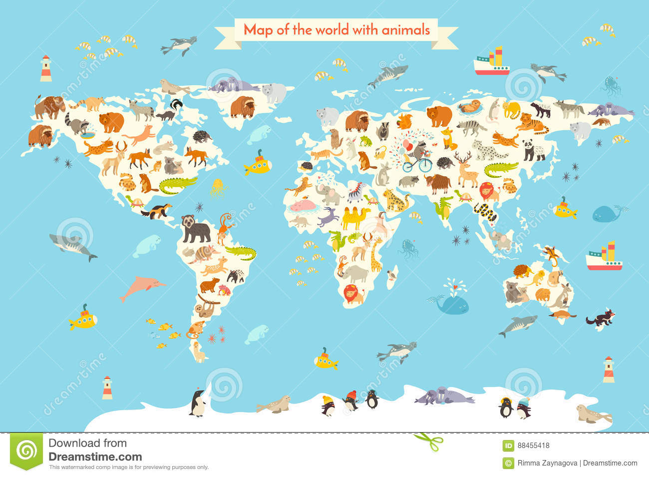 Map of continents and oceans thailand map borderlands 2 map animals world map stock vector illustration of cute 88455418 animals world map colorful cartoon vector illustration children kids preschool education baby gumiabroncs