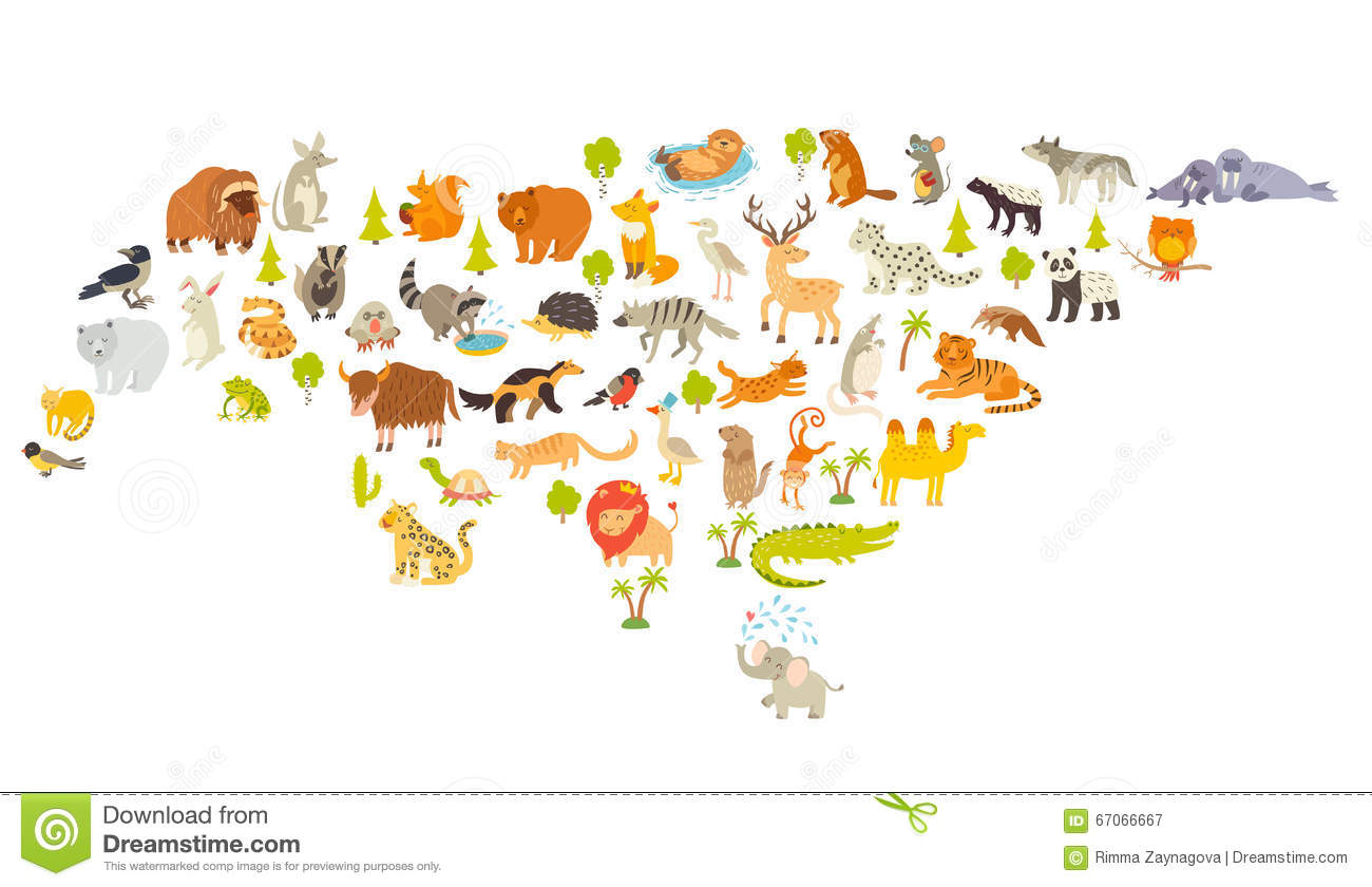 Animals world map colorful cartoon vector illustration for animals world map eurasia colorful cartoon vector illustration for children and kids royalty gumiabroncs Gallery