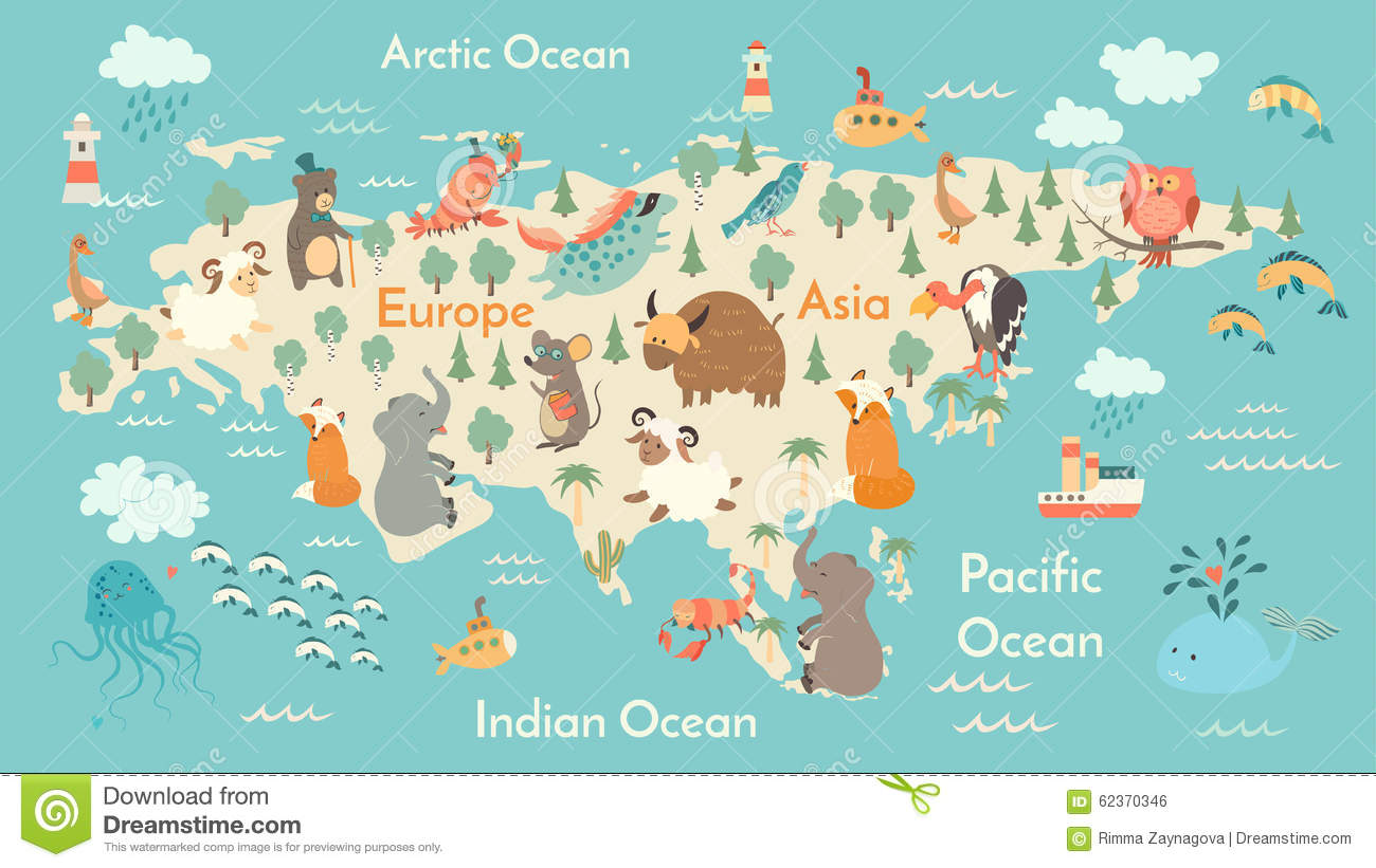Animals World Map Eurasia Stock Vector Image 62370346