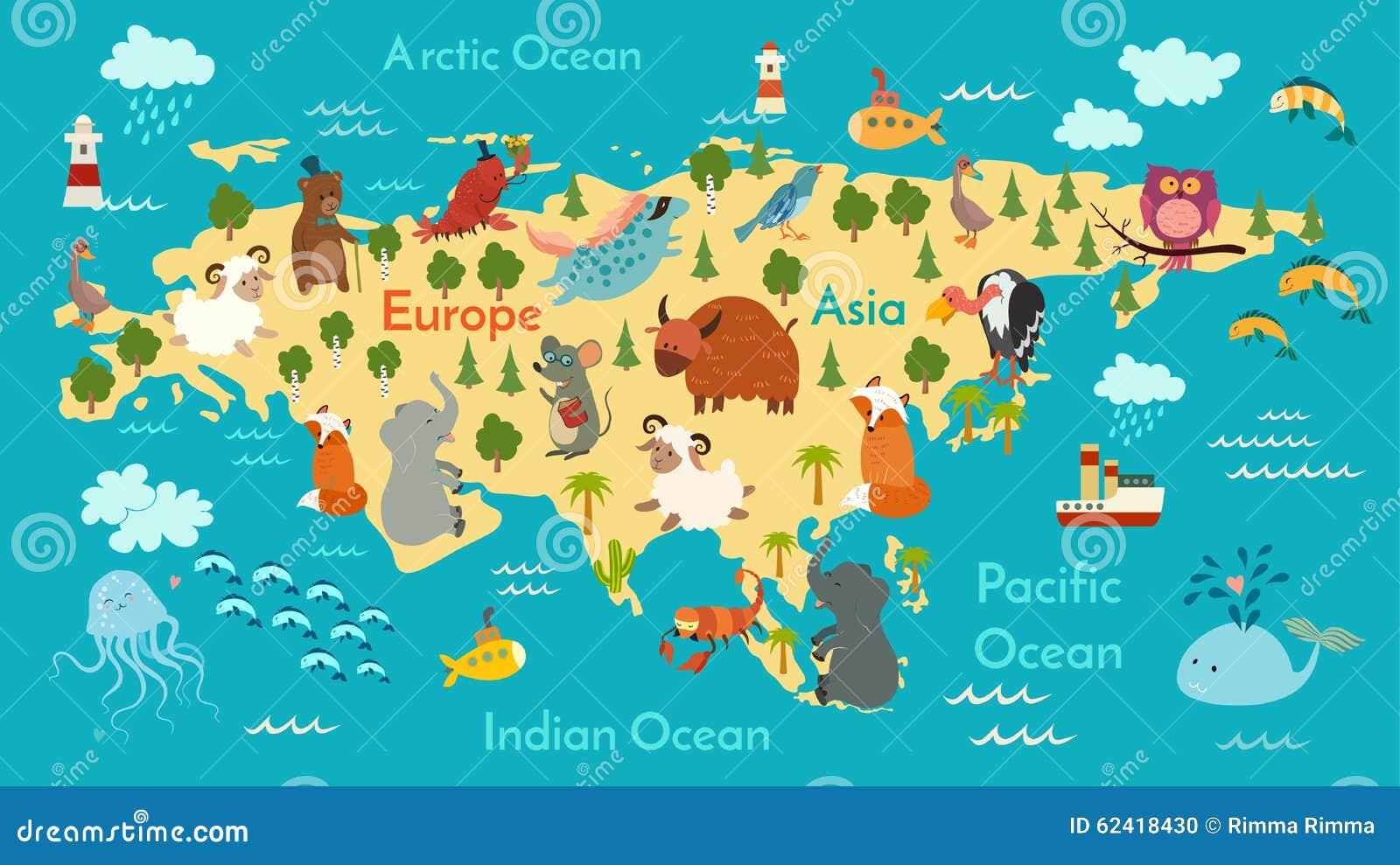 Animals world map, Eurasia stock vector. Illustration of design