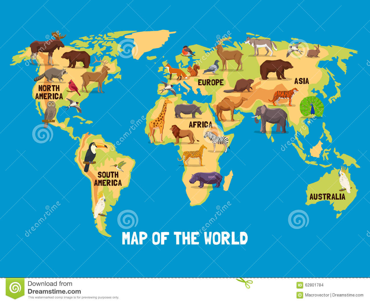 Flat map of world with animals living in different parts of continents ...
