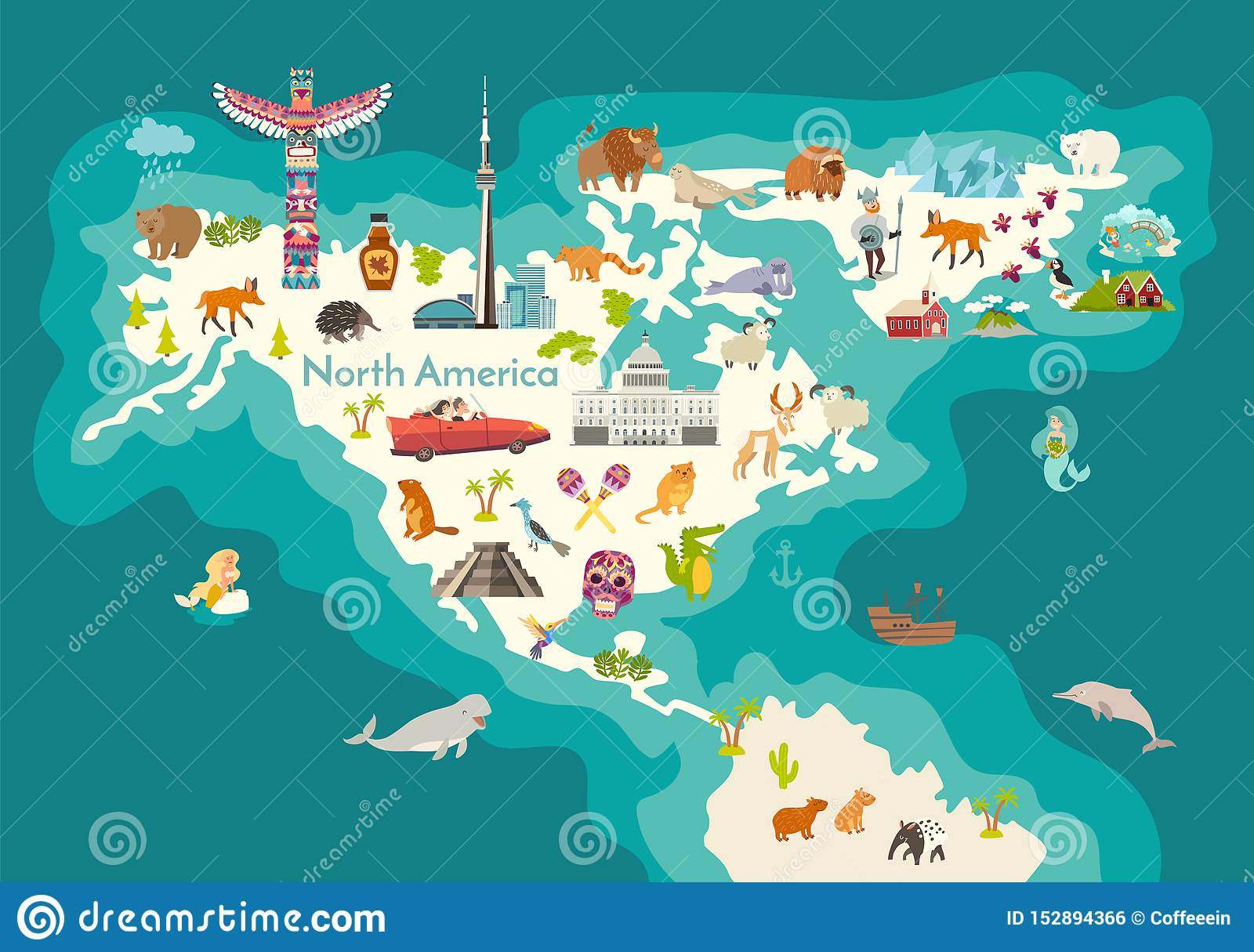 Picture of: Animals World Map North America With Landmarks Stock Vector Illustration Of Cartoon Child 152894366