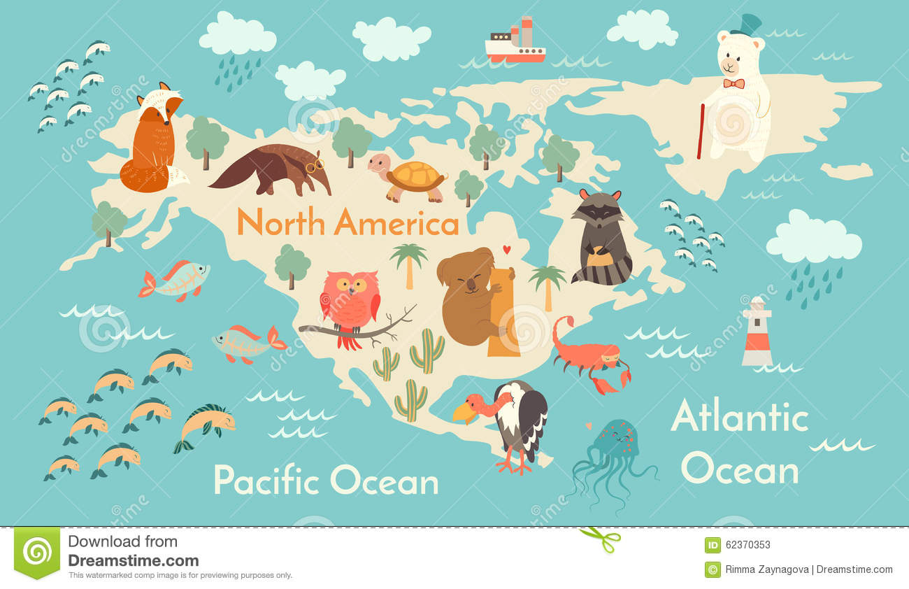 Animals world map north america stock vector illustration of download animals world map north america stock vector illustration of america fish gumiabroncs Gallery