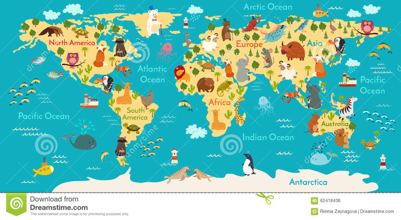 Animals World Map Stock Vector Illustration Of Cute 62418436