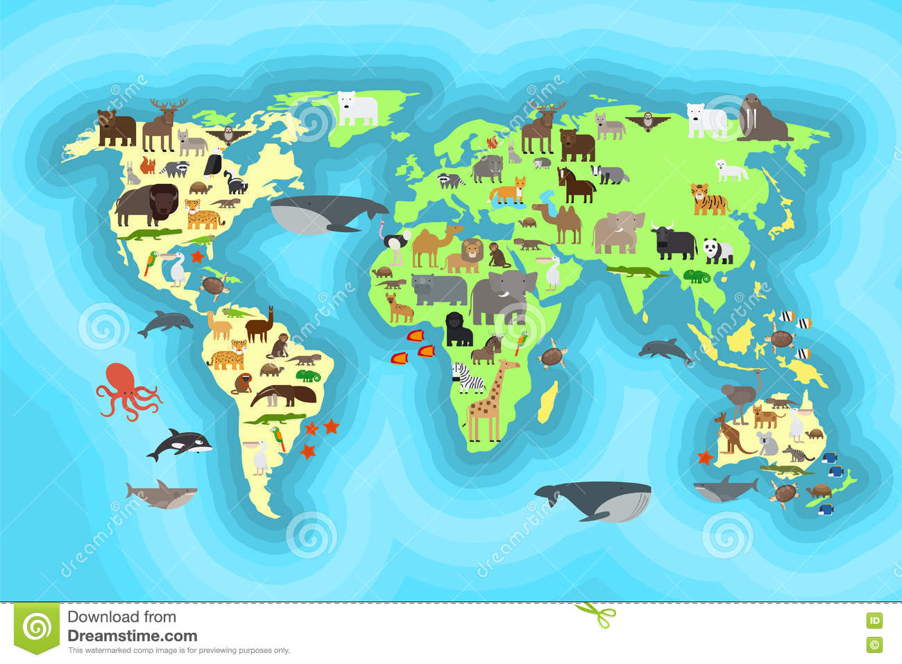 Animals world map wallpaper design stock image image of brown animals world map wallpaper design royalty free stock photo gumiabroncs Gallery
