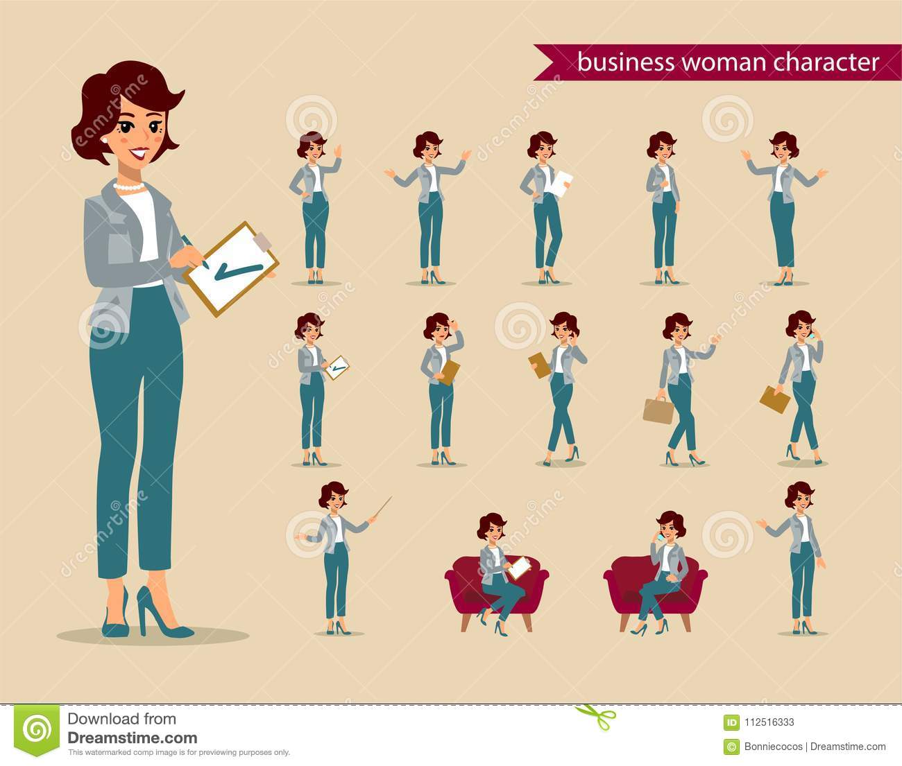 businesswoman character set animate character female personage