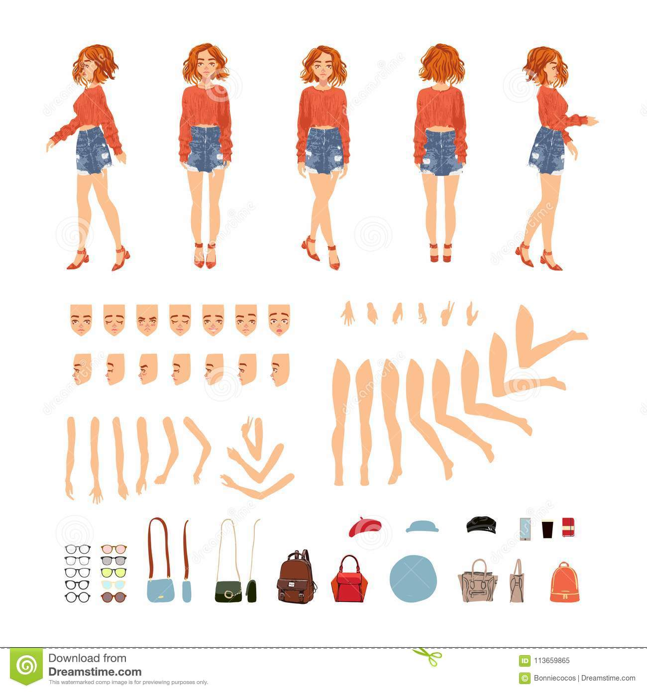 Animate Character  Young Lady Personage Constructor  Different Woman