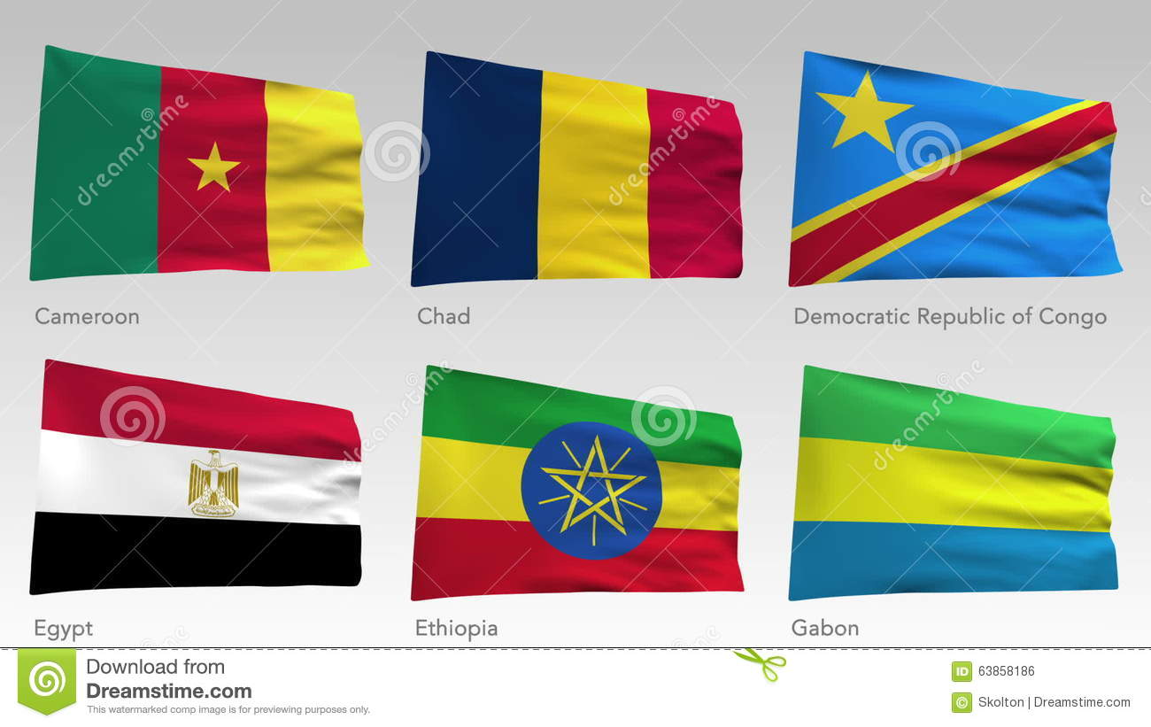 Animated African flags collection with alpha channel, Cameroon, Chad,  Democratic republic of Congo, Egypt, Ethiopia, Gabon