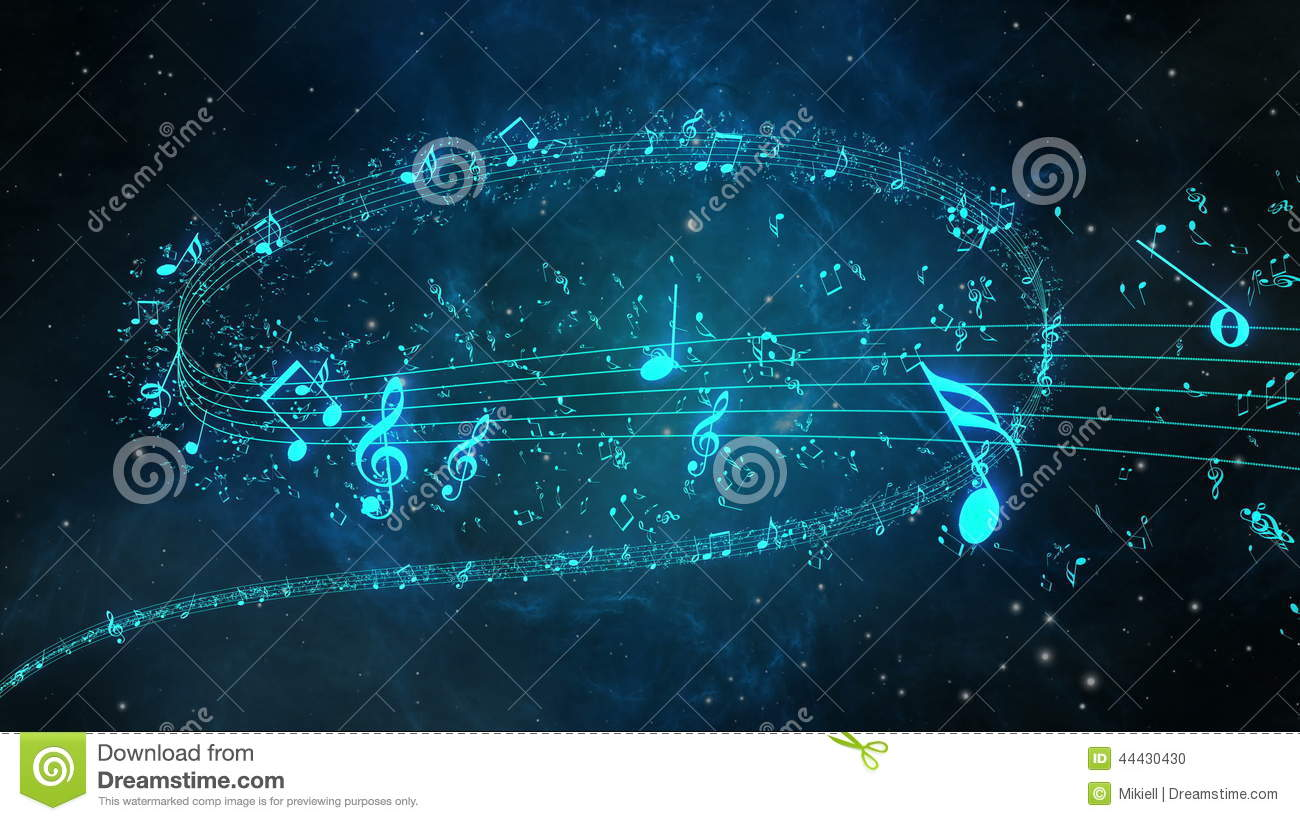 Animated Background With Musical Notes, Music Notes Flowing Stock Footage -  Video: 44430430